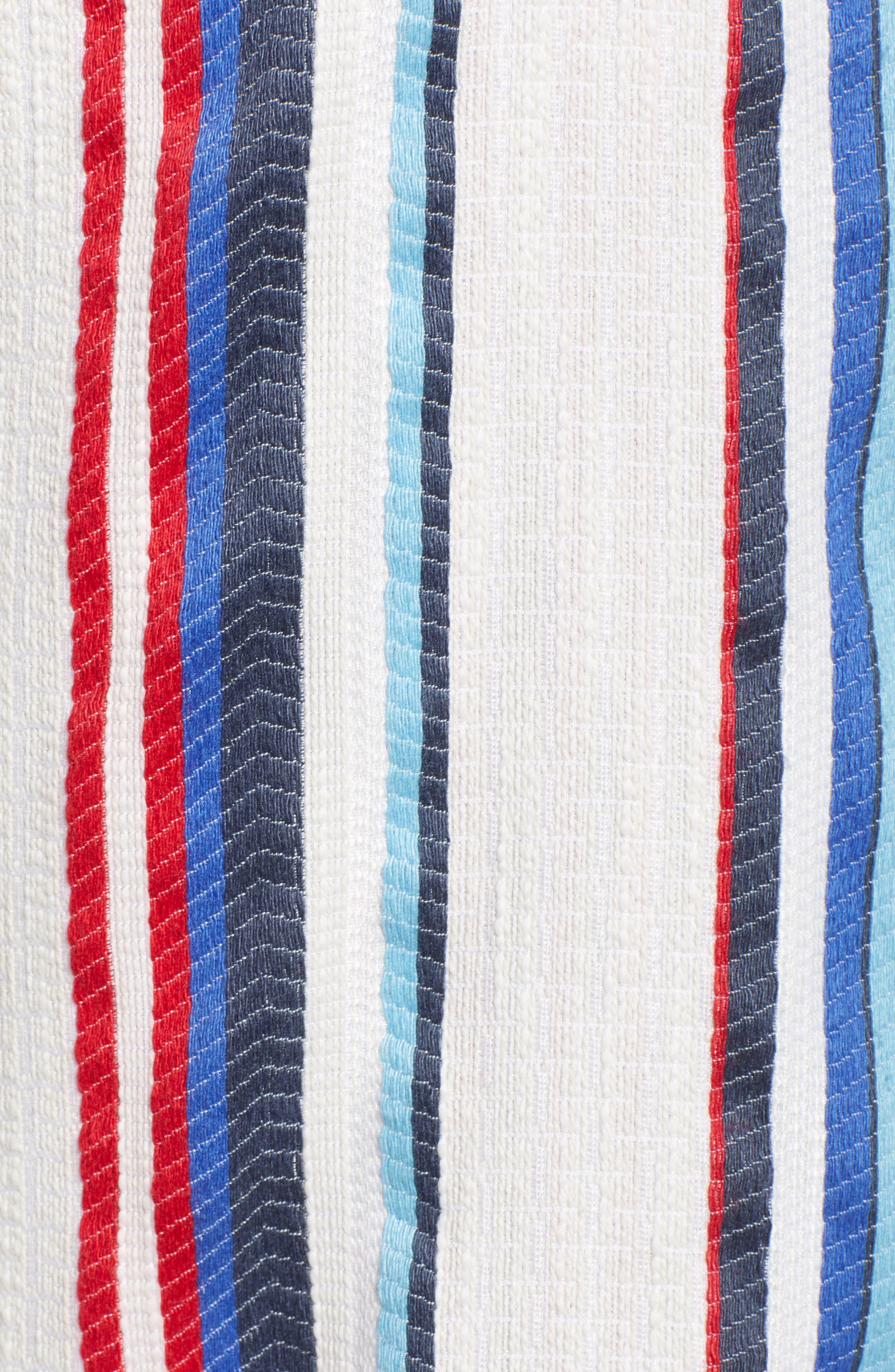 LOST + WANDER,                             Azul Stripe Off the Shoulder Crop Top,                             Alternate thumbnail 6, color,                             400