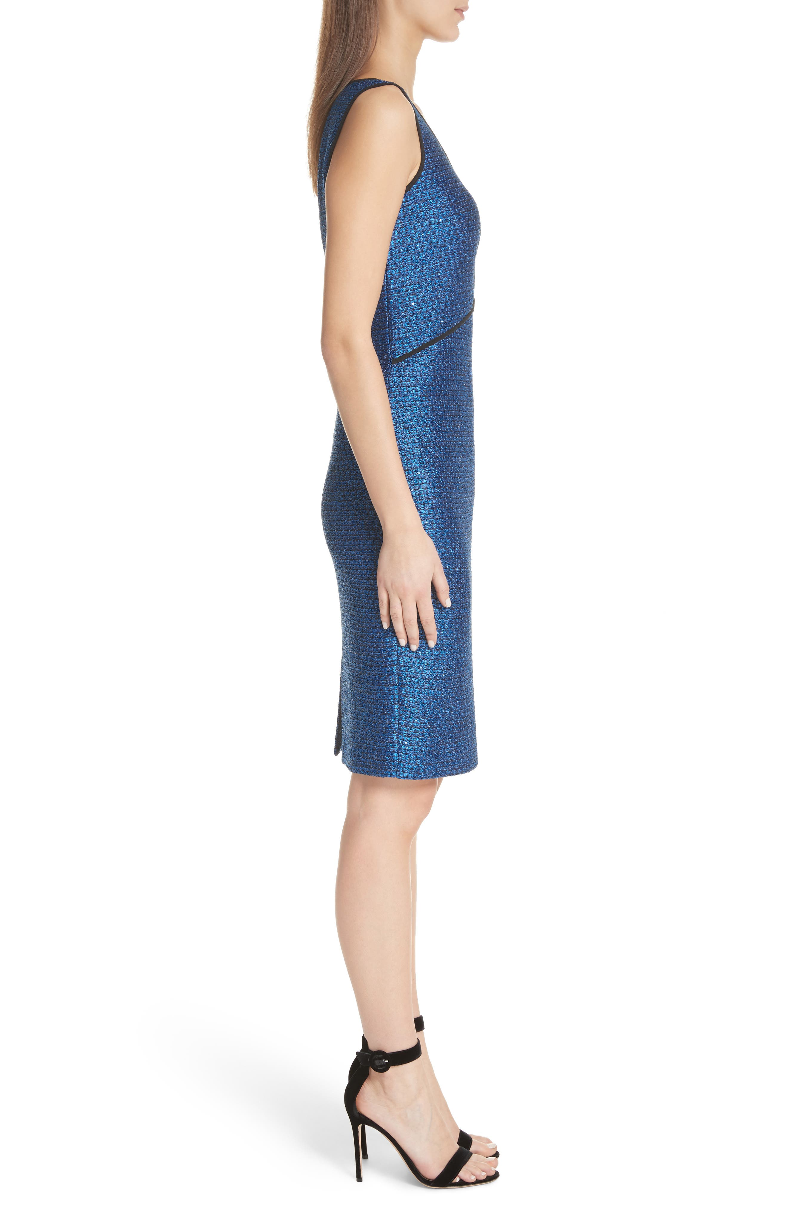 Luster Sequin Knit Dress,                             Alternate thumbnail 3, color,                             COBALT MULTI
