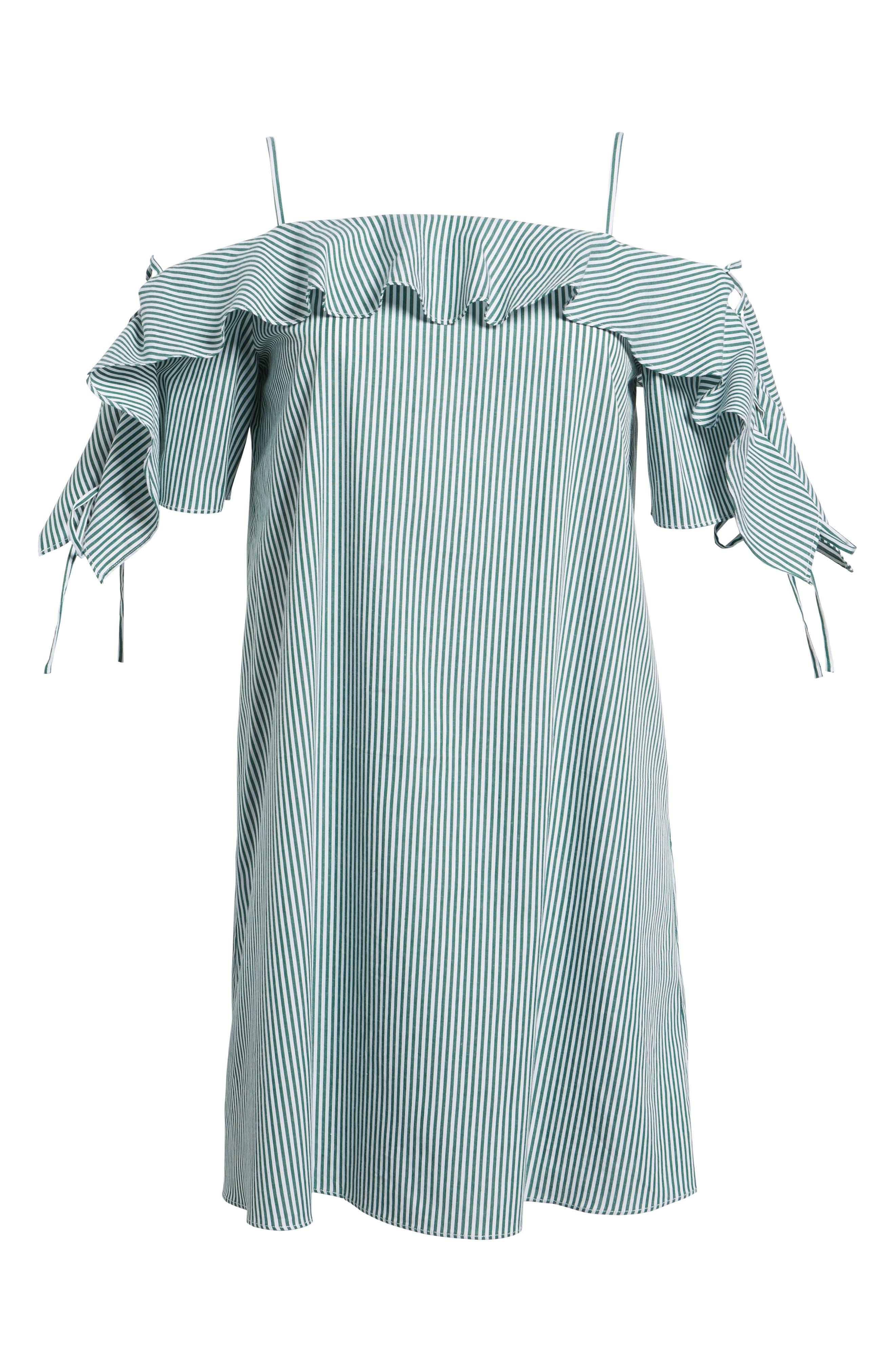 Ruffle Cold Shoulder Shift Dress,                             Alternate thumbnail 6, color,