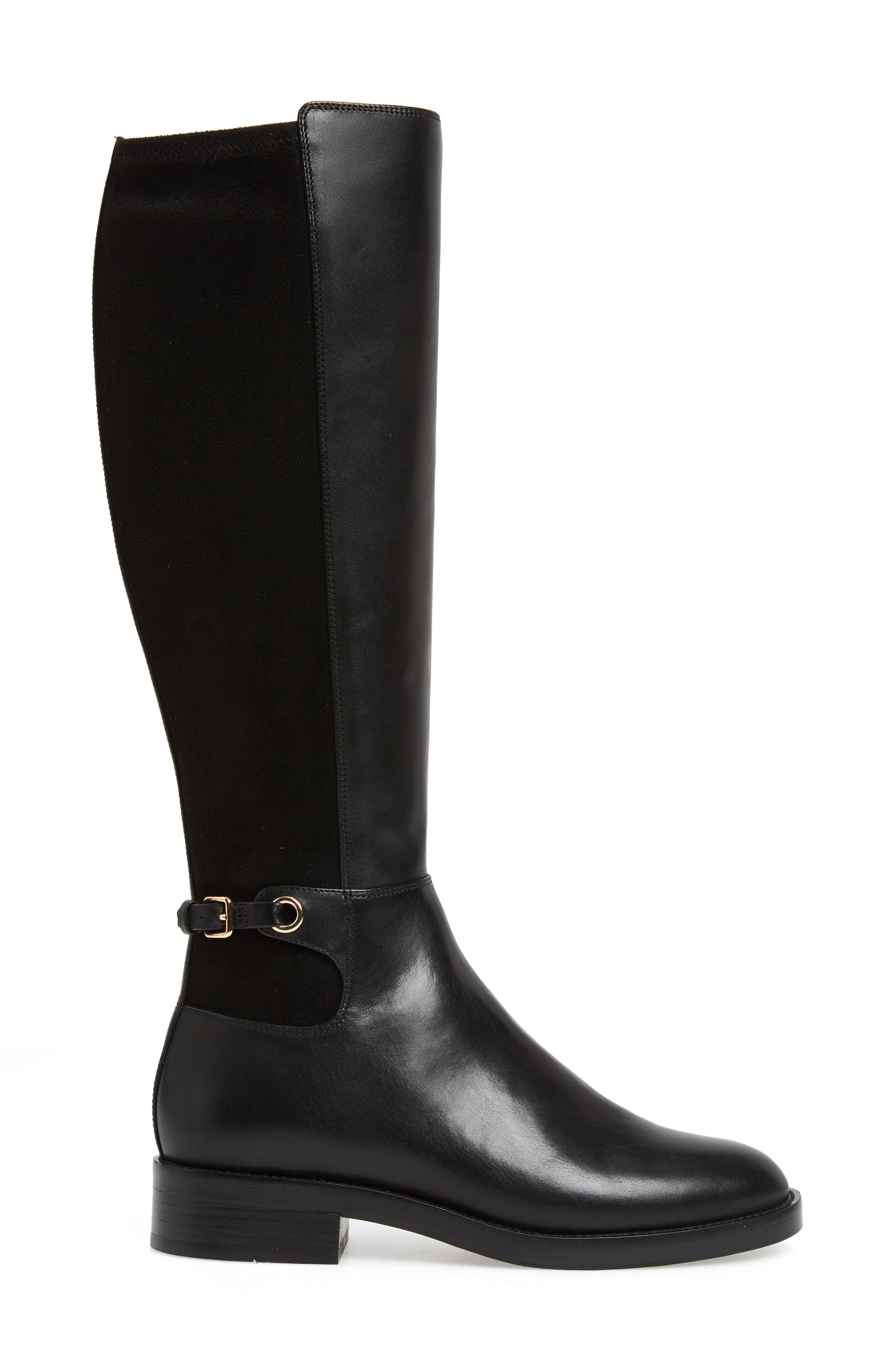 Parker Grand Stretch Knee High Boot,                             Alternate thumbnail 3, color,                             BLACK LEATHER