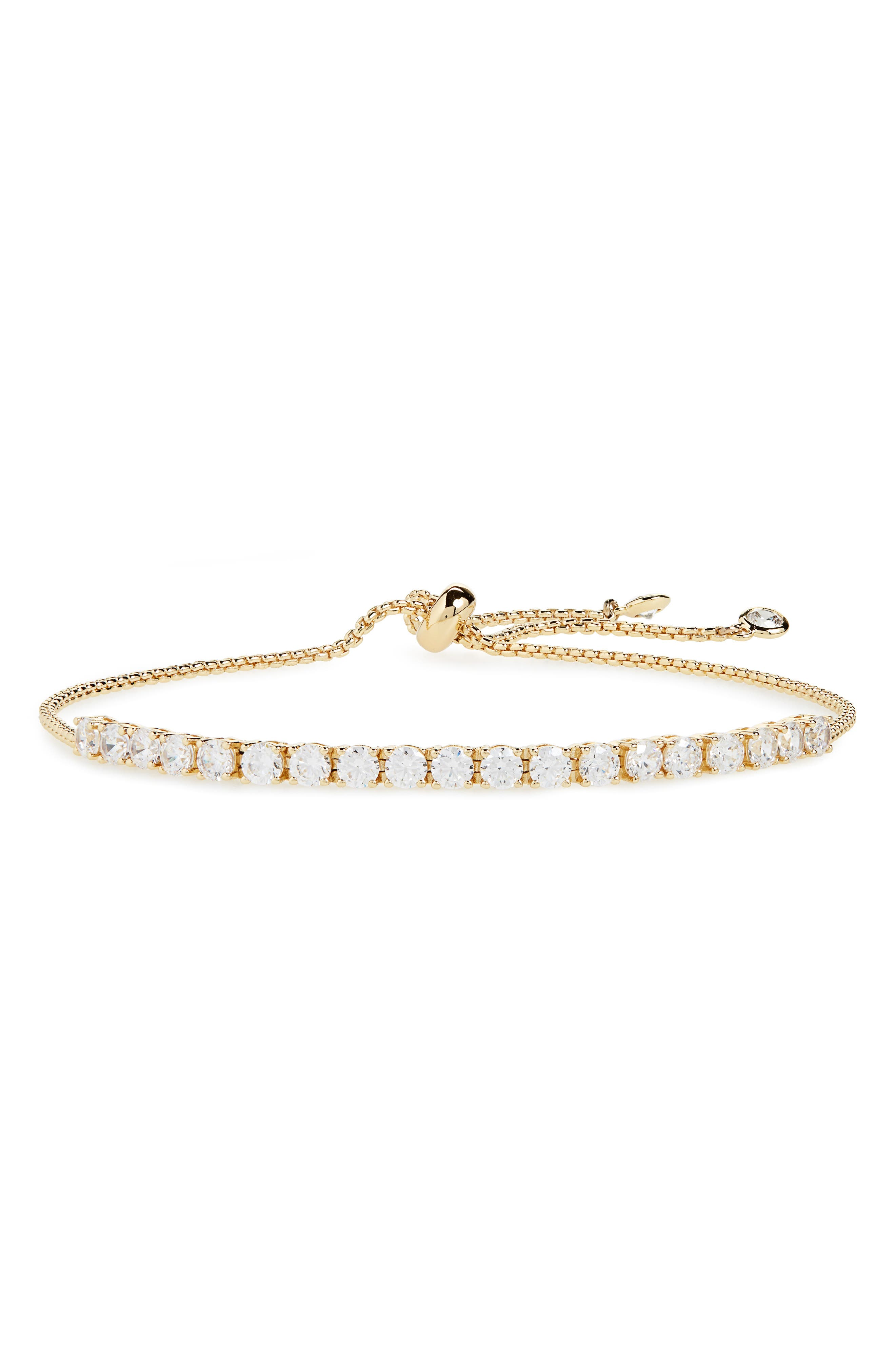 Pavé Spheres Tennis Slider Bracelet,                             Main thumbnail 1, color,                             CLEAR/ GOLD