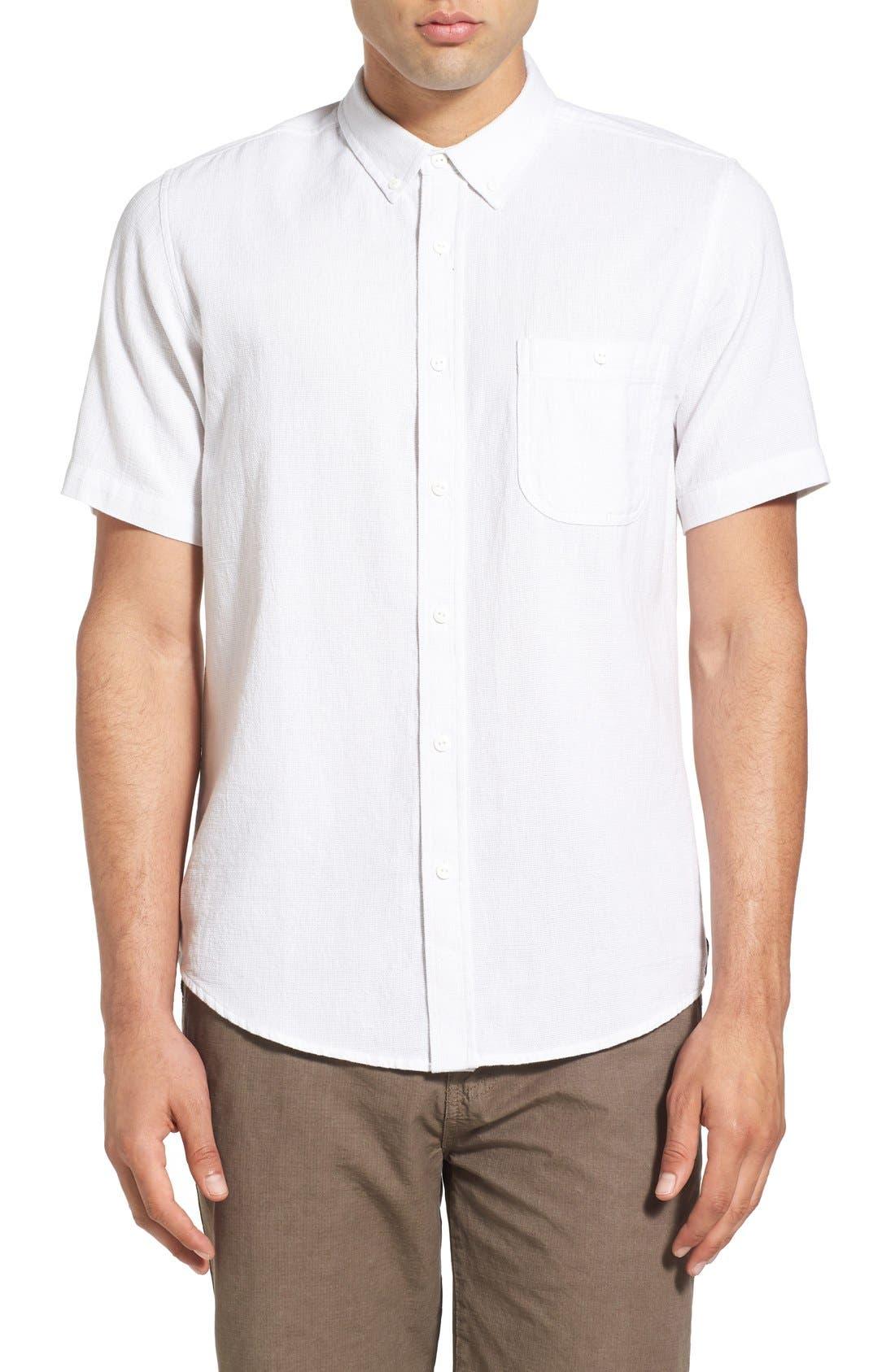 'Highland' Regular Fit Short Sleeve Woven Shirt,                         Main,                         color, 100