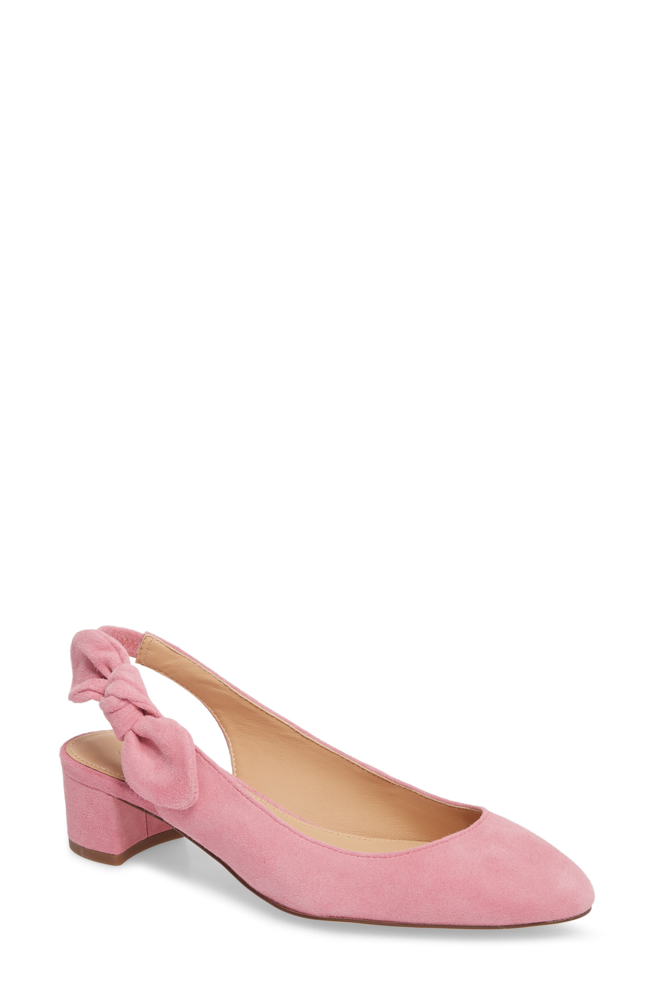 Slingback Bow Pump,                         Main,                         color, WINTER CORAL FABRIC