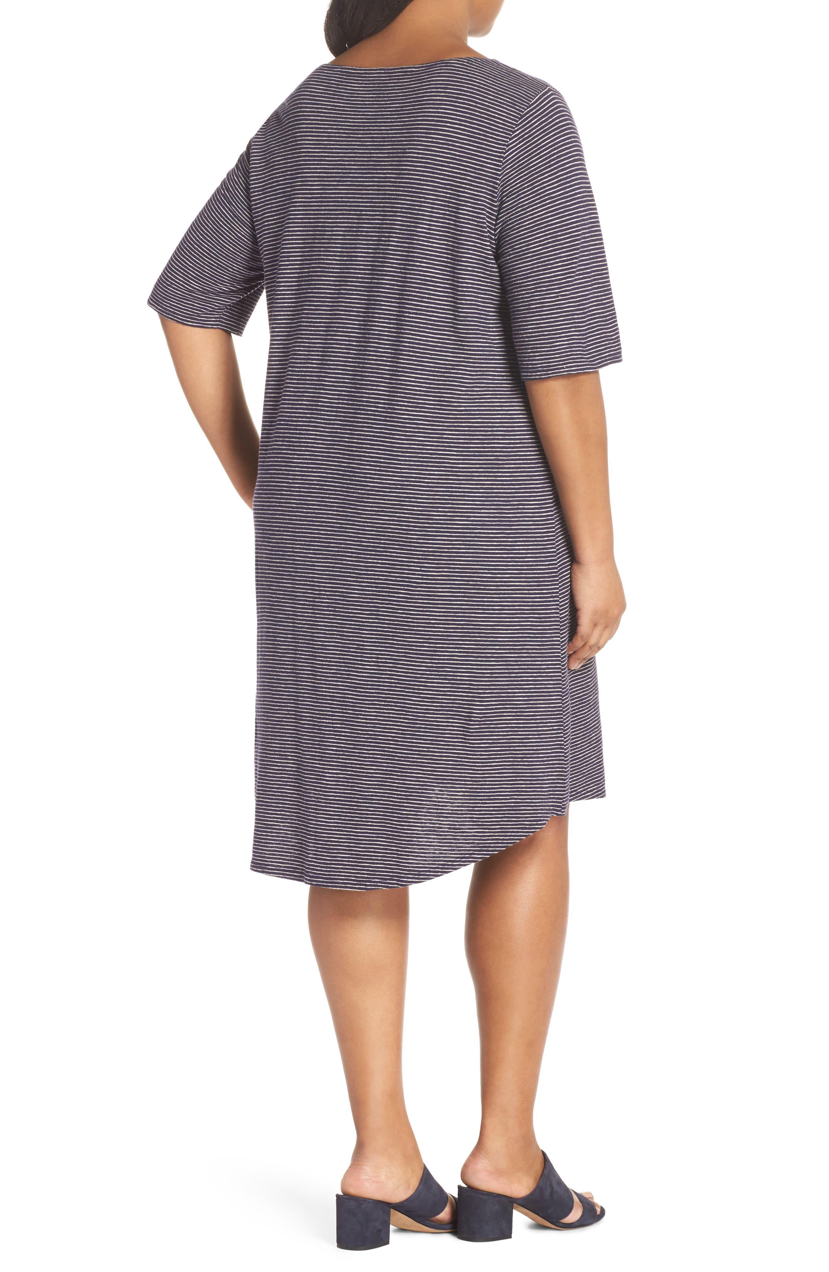 Stripe Hem & Cotton T-Shirt Dress,                             Alternate thumbnail 2, color,                             465
