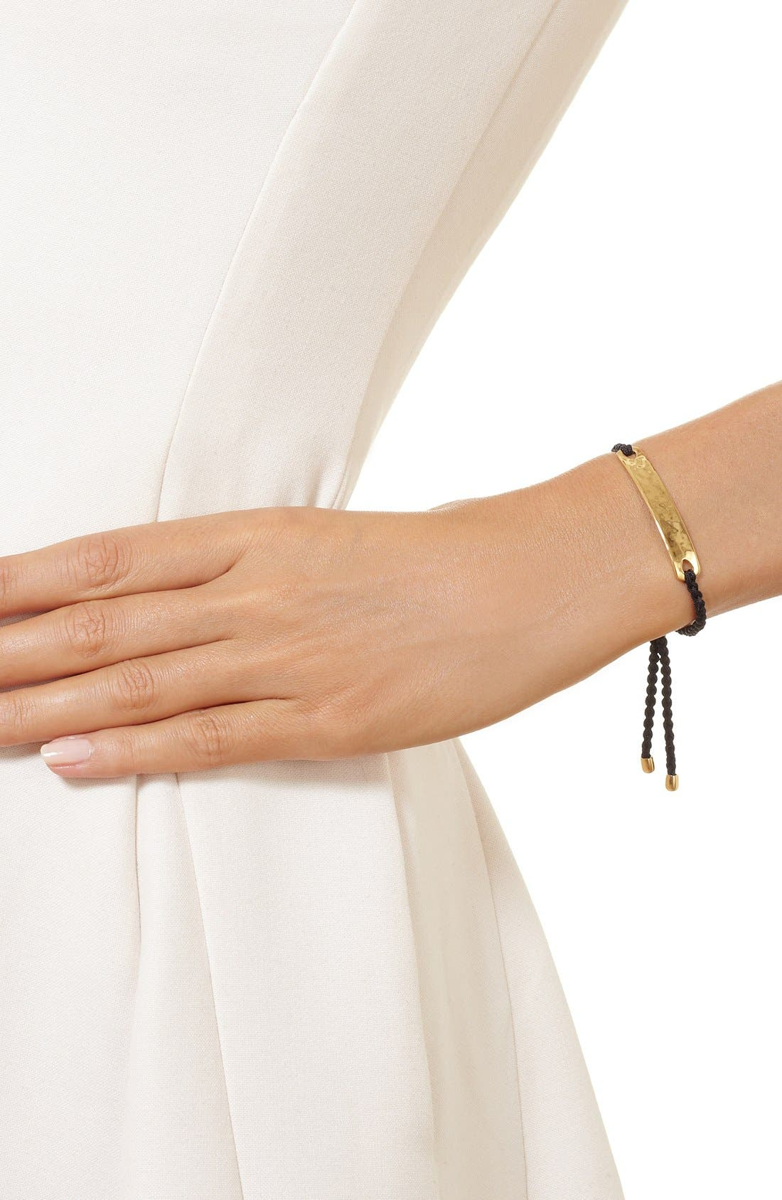 Engravable HavanaFriendship Bracelet,                             Alternate thumbnail 3, color,                             YELLOW GOLD/ BLACK