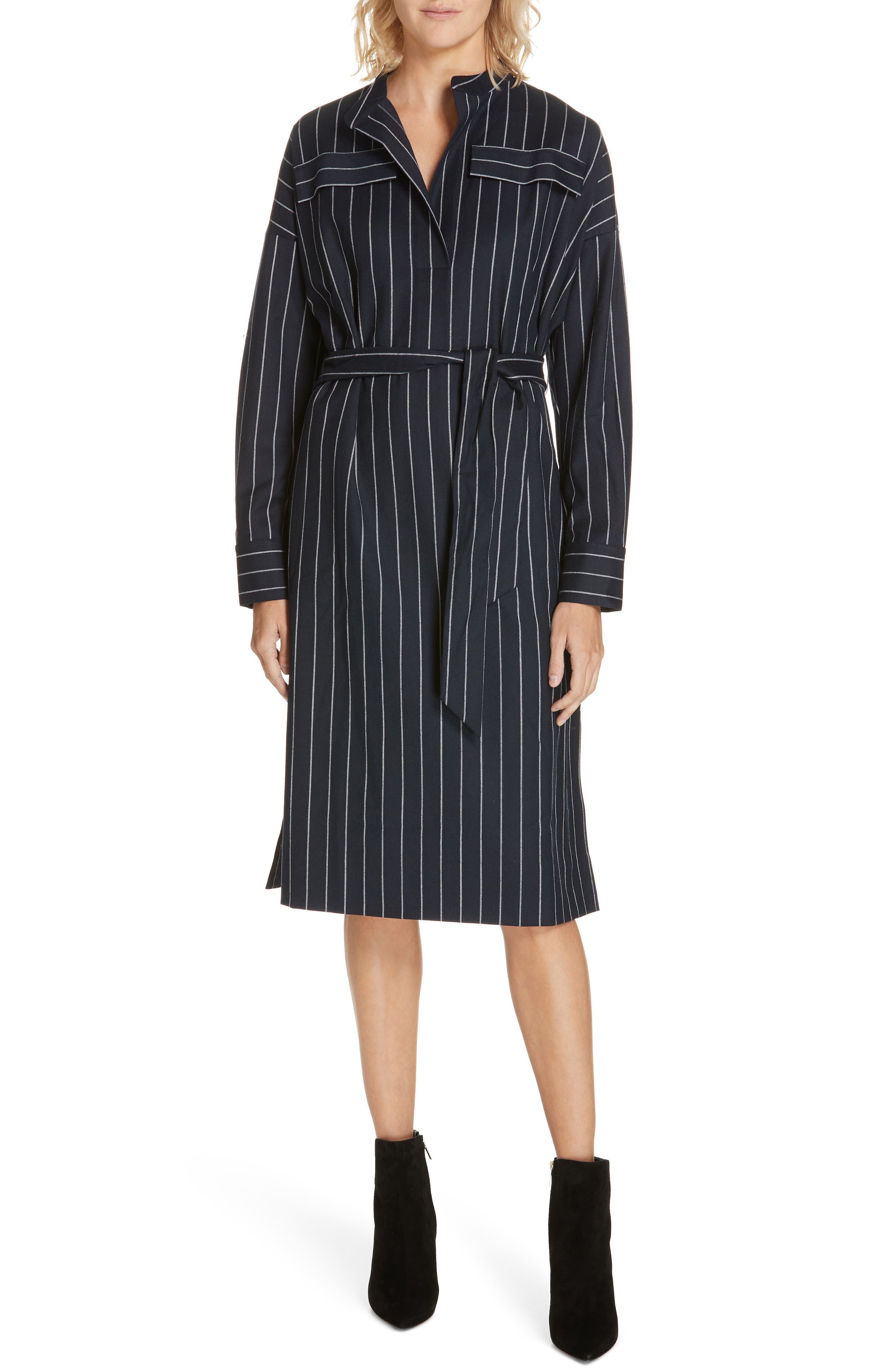 NORDSTROM SIGNATURE Belted Shirtdress, Main, color, NAVY- WHITE PREPPY STRIPE