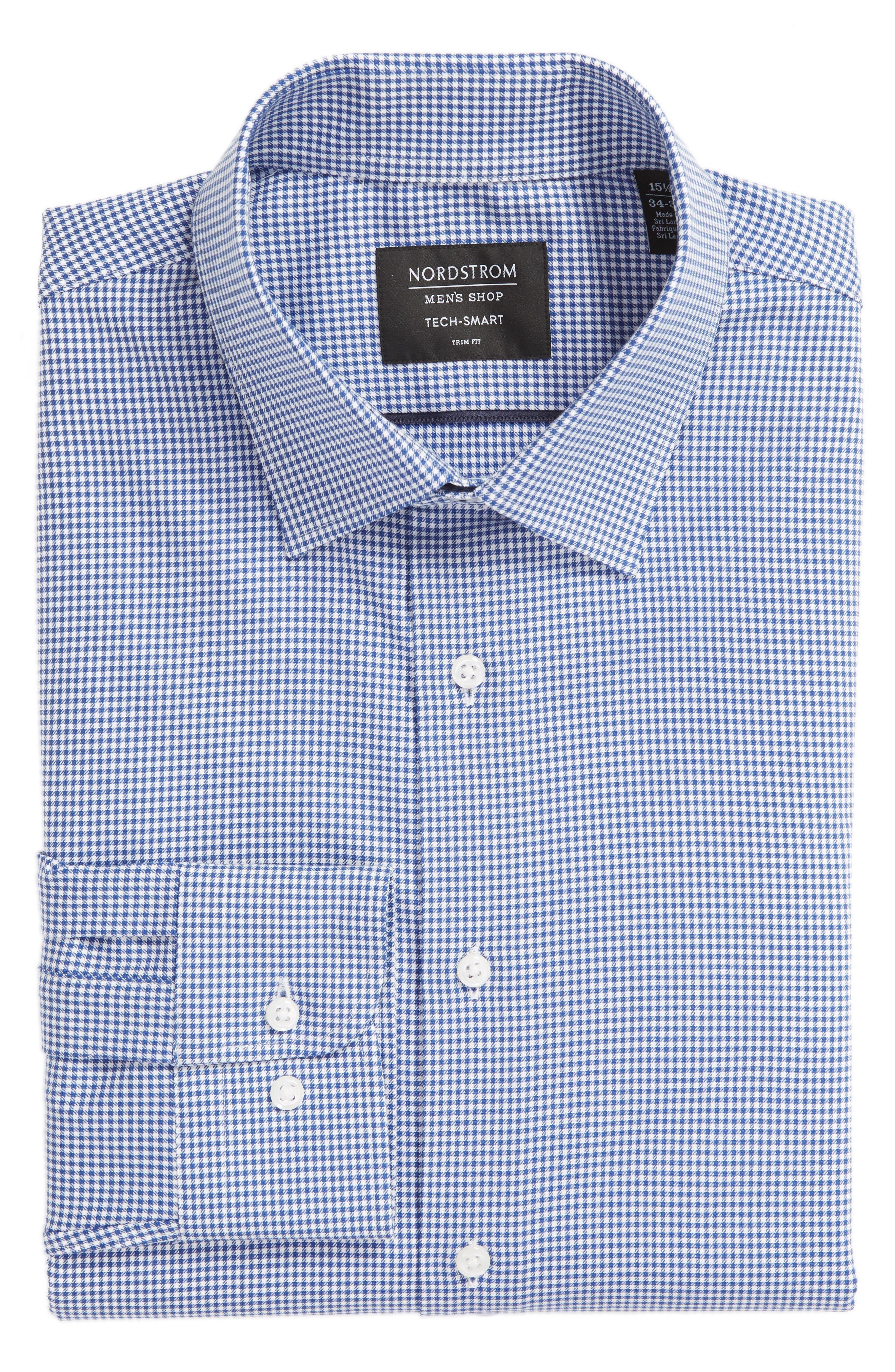 Tech-Smart Trim Fit Stretch Check Dress Shirt,                             Alternate thumbnail 5, color,                             BLUE MARINE