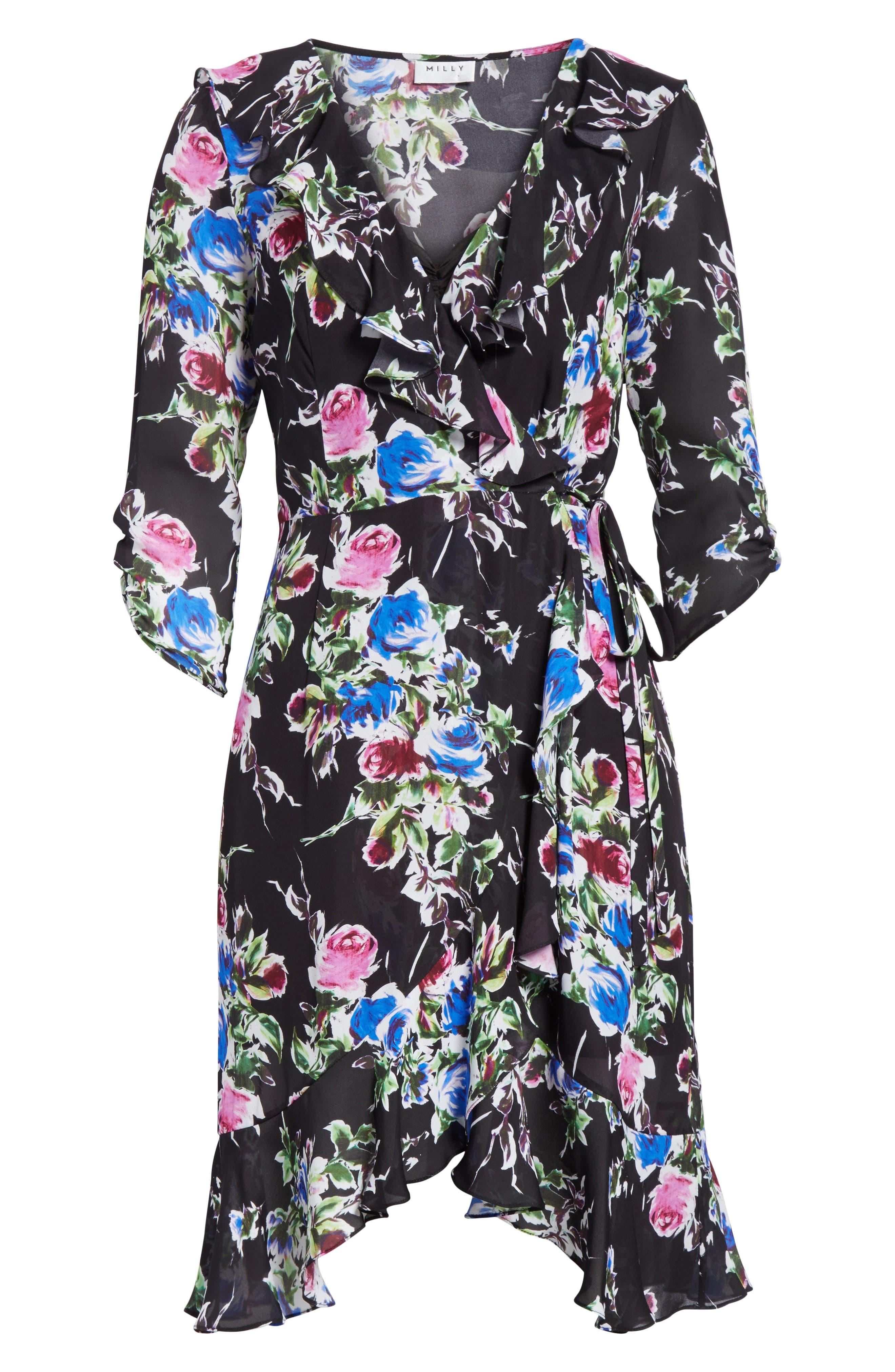 Audrey Floral Silk Wrap Dress,                             Alternate thumbnail 6, color,                             001