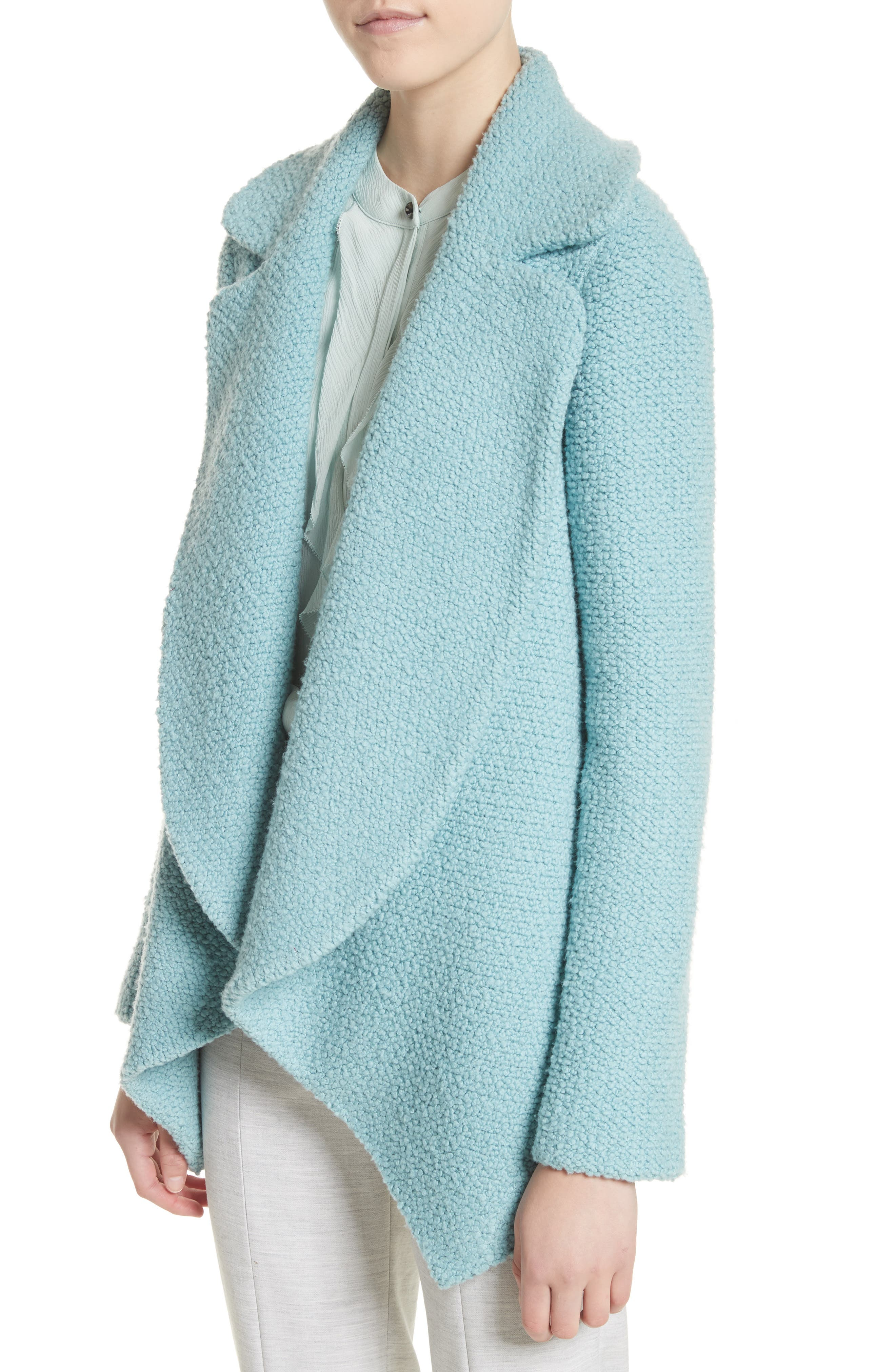 Plush Bouclé Wool & Silk Cardigan,                             Alternate thumbnail 4, color,