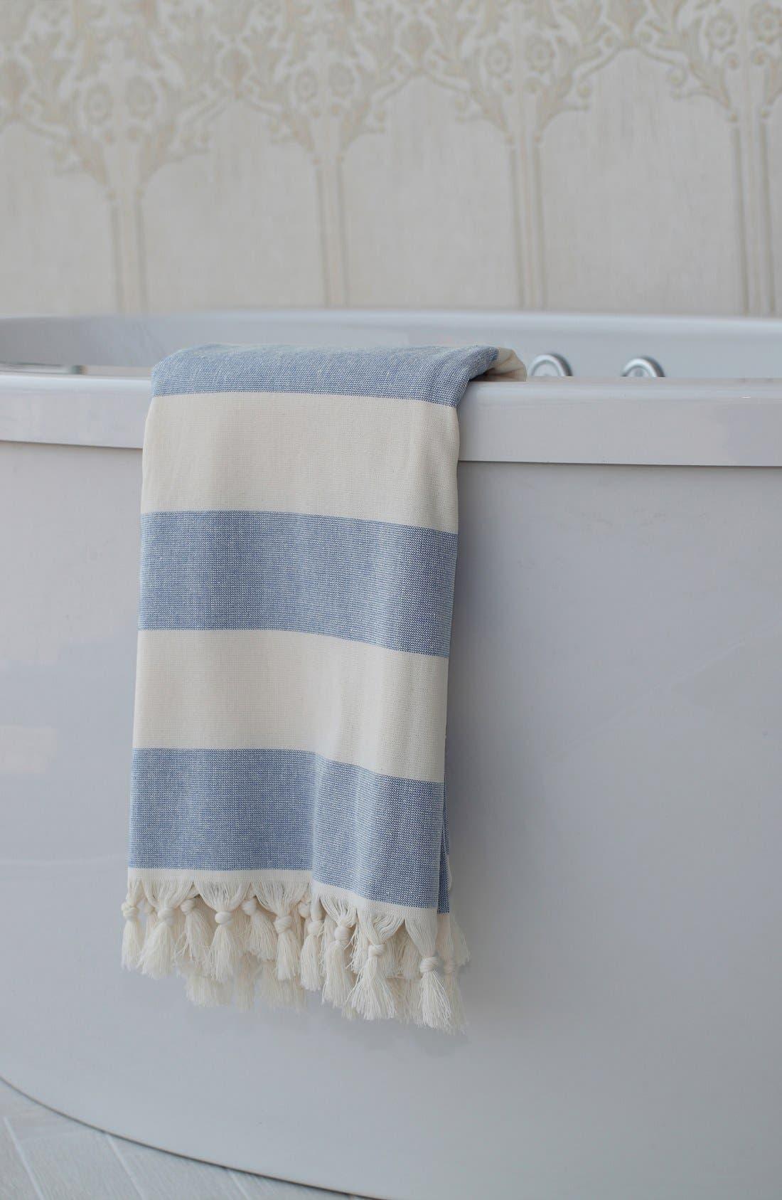 'Patara' Turkish Pestemal Towel,                             Alternate thumbnail 4, color,                             ROYAL BLUE