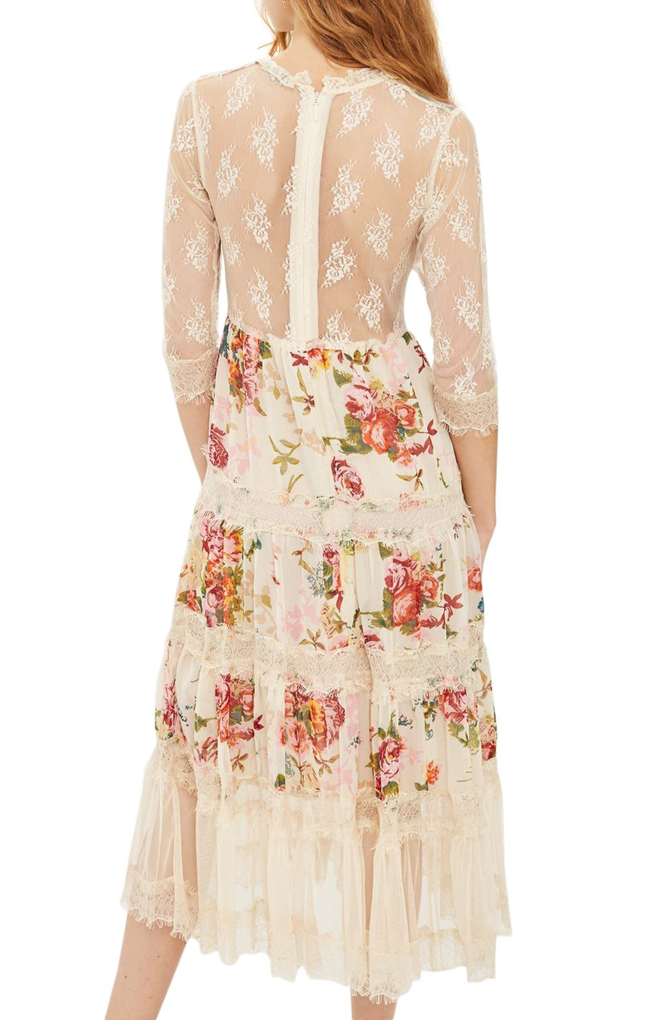 Lace Tier Floral Midi Dress,                             Alternate thumbnail 2, color,                             900