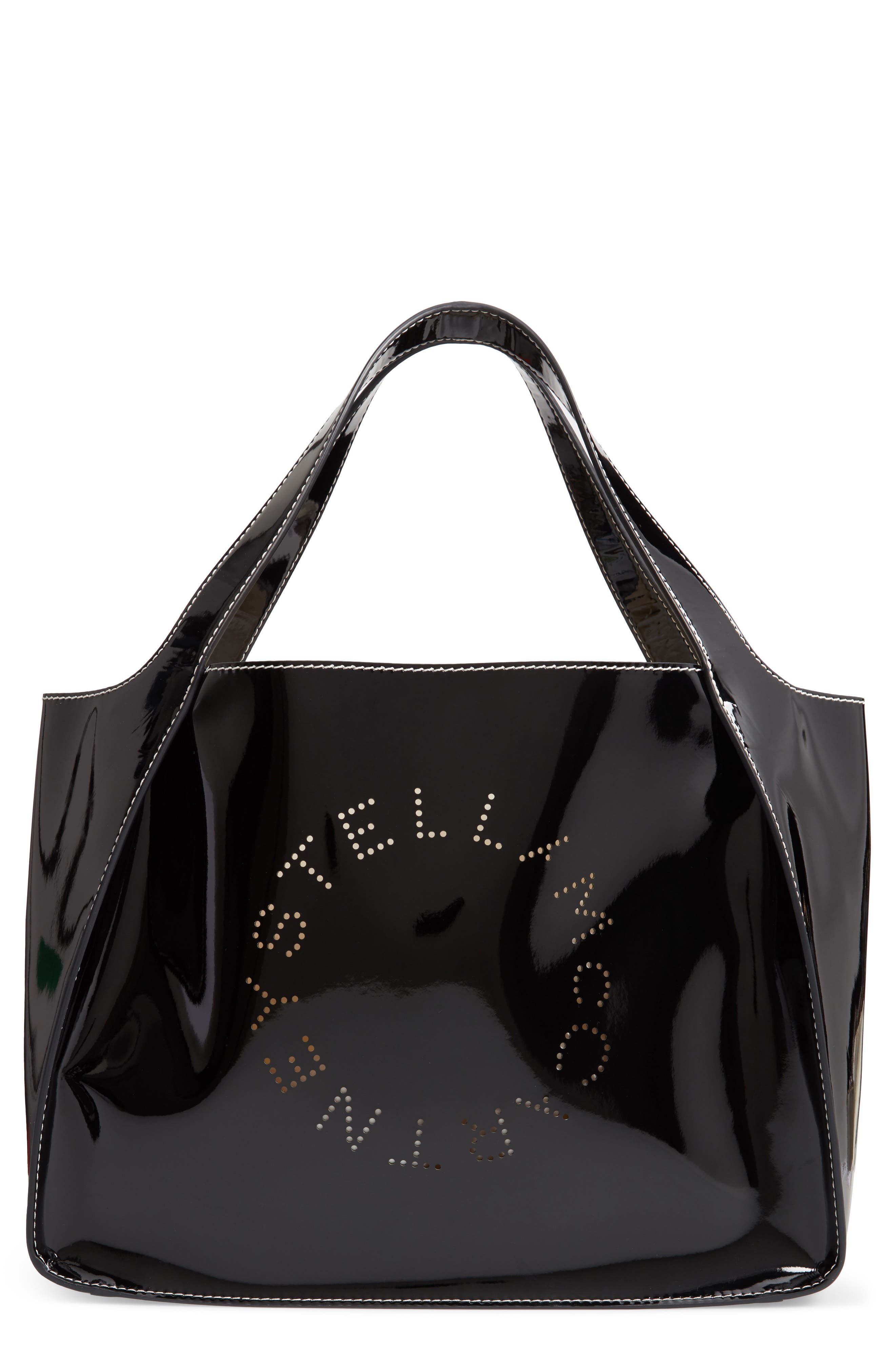 Small Logo Faux Leather Tote, Main, color, 001