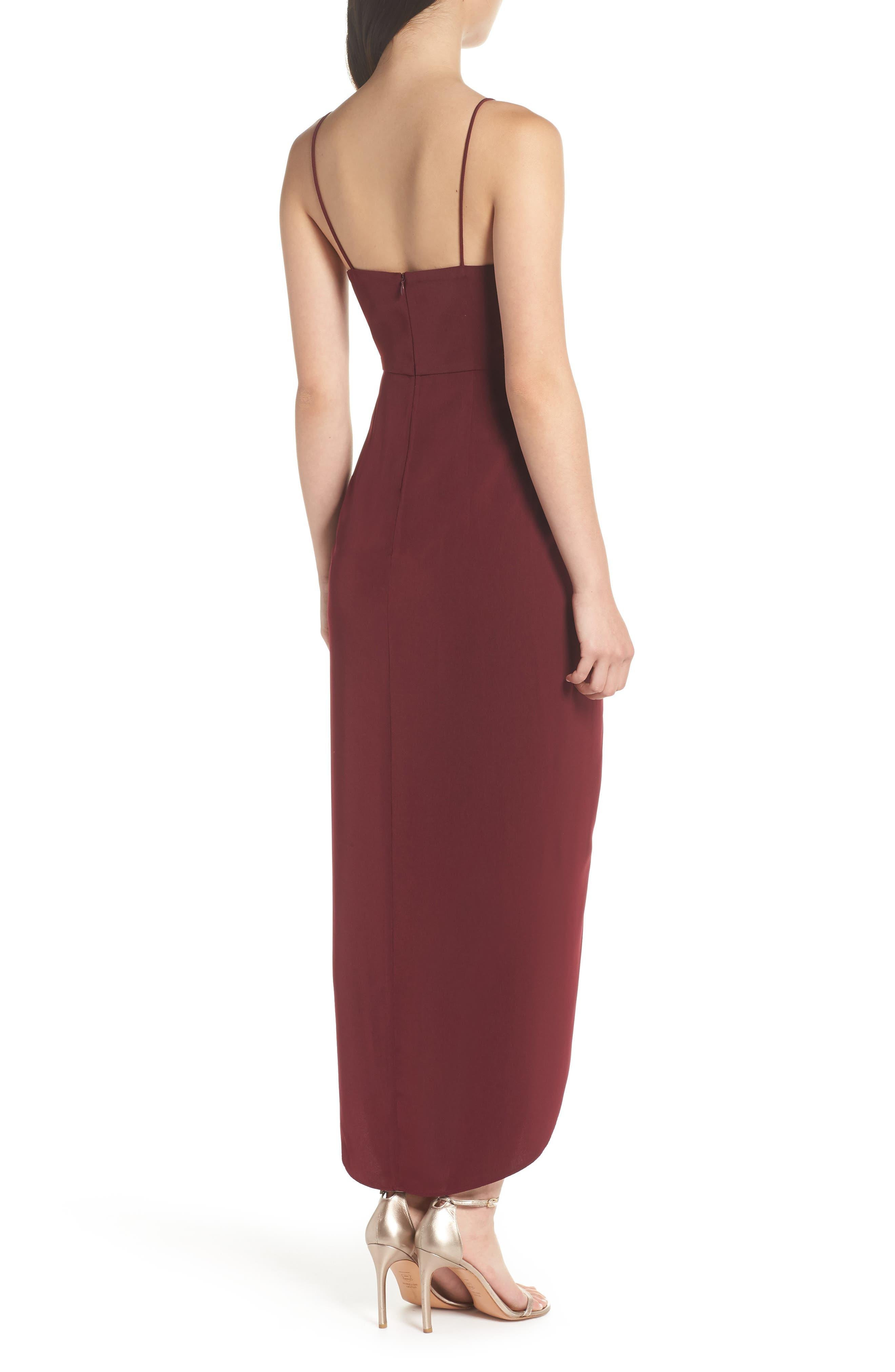 SHONA JOY,                             Tulip Hem Maxi Dress,                             Alternate thumbnail 2, color,                             BURGUNDY