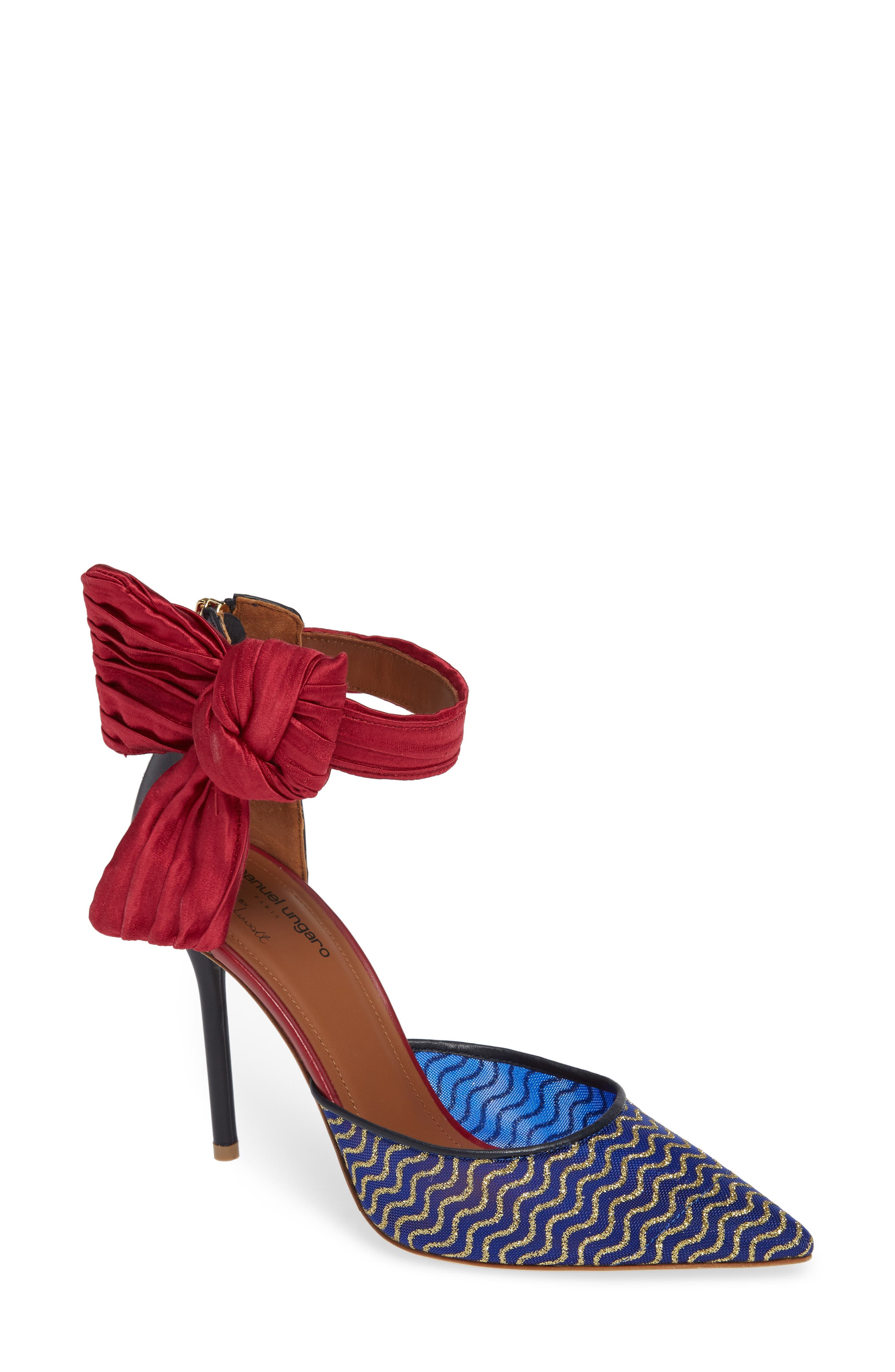 Elle Bow Pump,                             Main thumbnail 1, color,                             BLUE/ RED