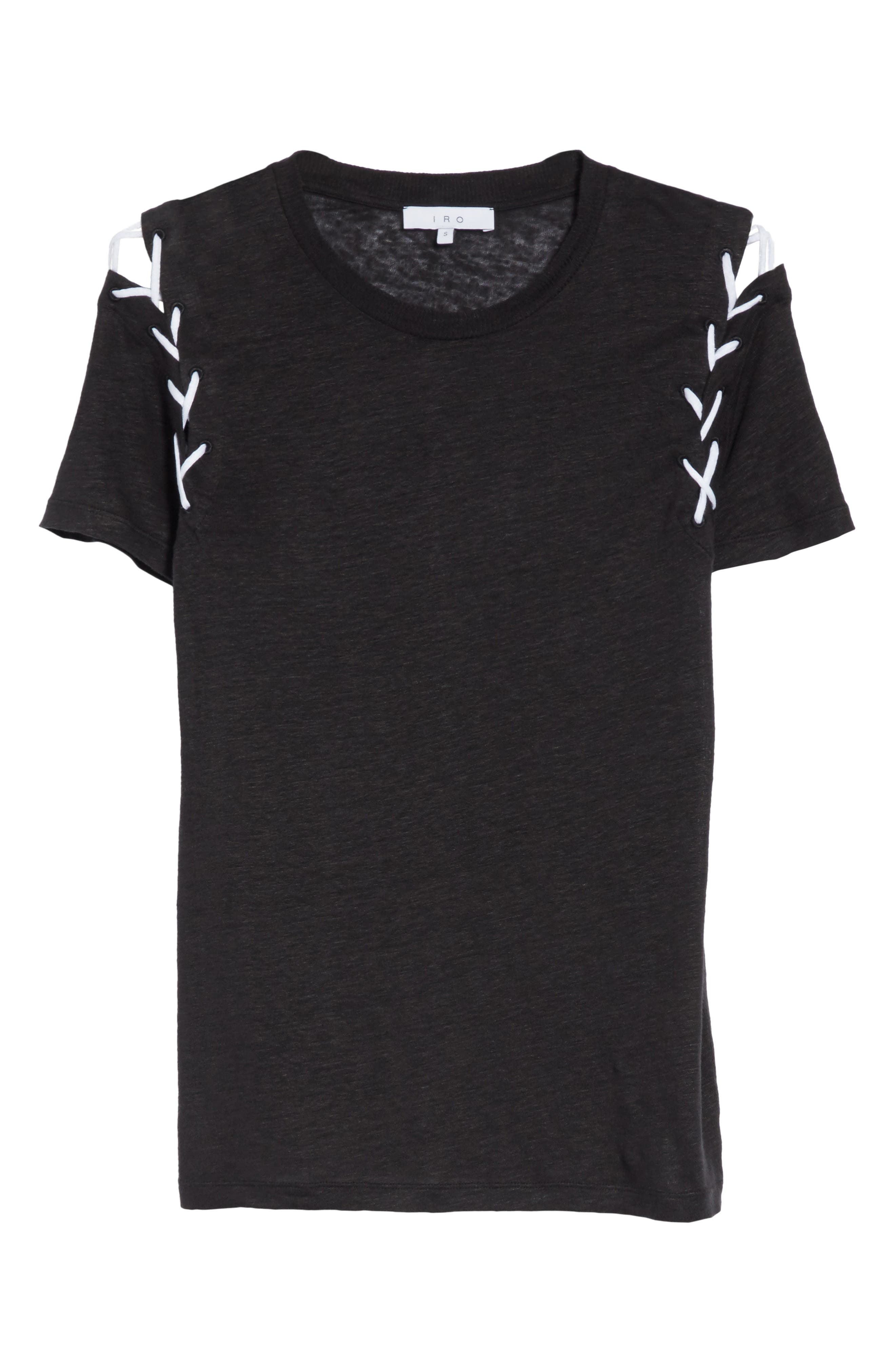 Melly Lace-Up Linen Tee,                             Alternate thumbnail 6, color,                             001