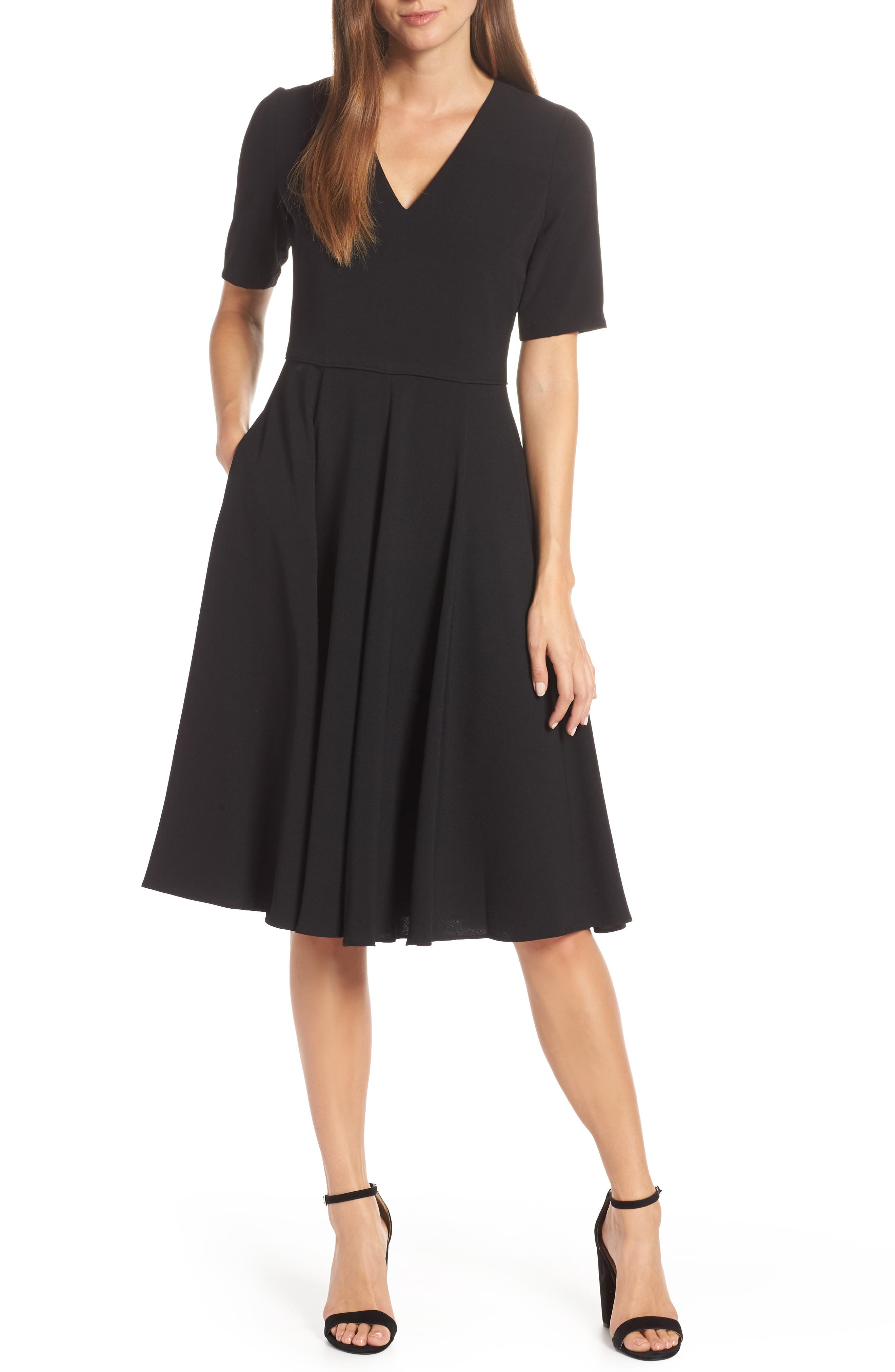 Edith City Crepe Fit & Flare Dress,                             Main thumbnail 1, color,                             BLACK