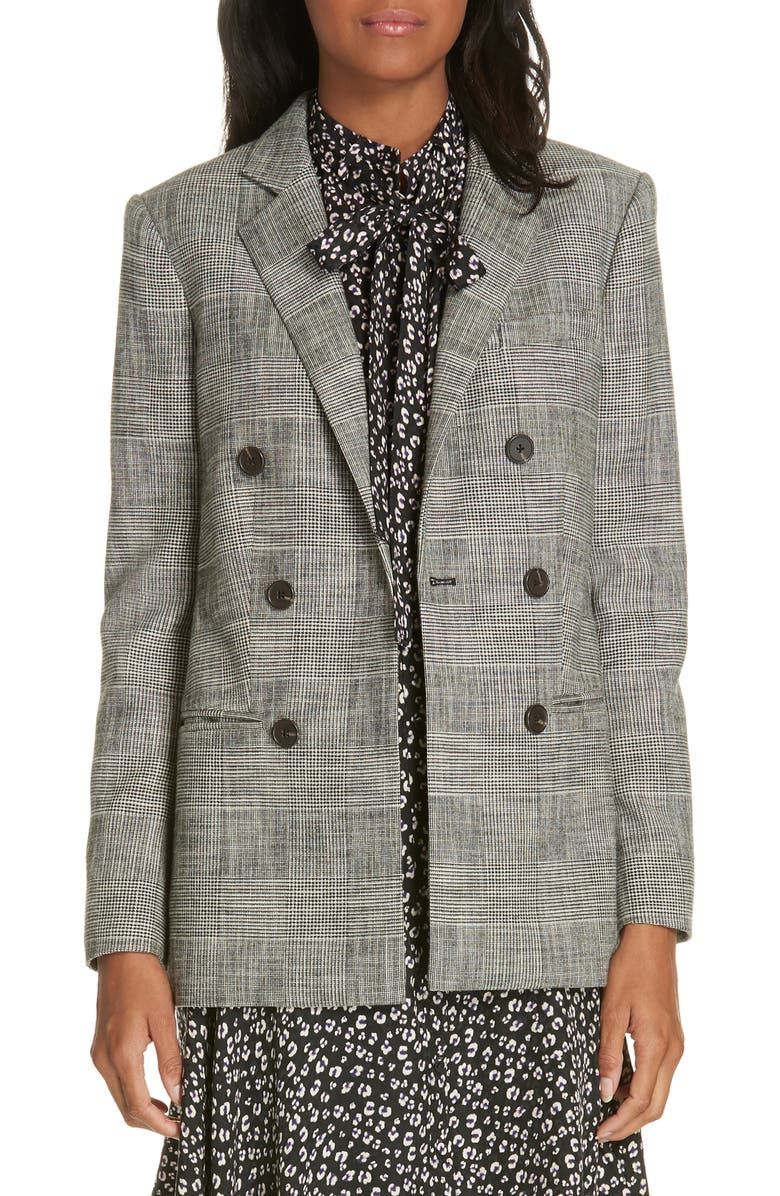 Rebecca Taylor DOUBLE BREASTED PLAID BLAZER