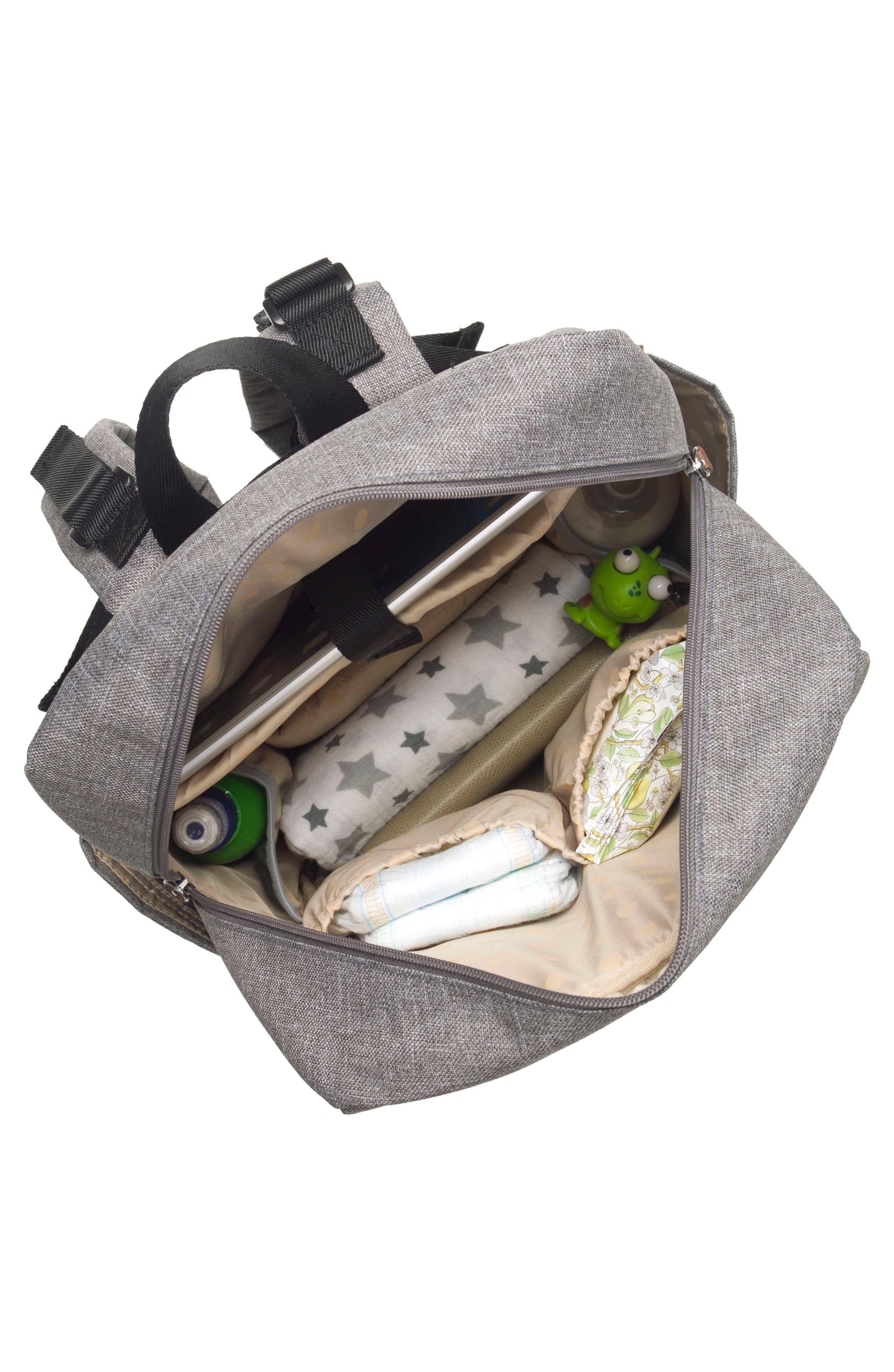 George Water Resistant Diaper Backpack,                             Alternate thumbnail 10, color,                             BLACK/ GREY
