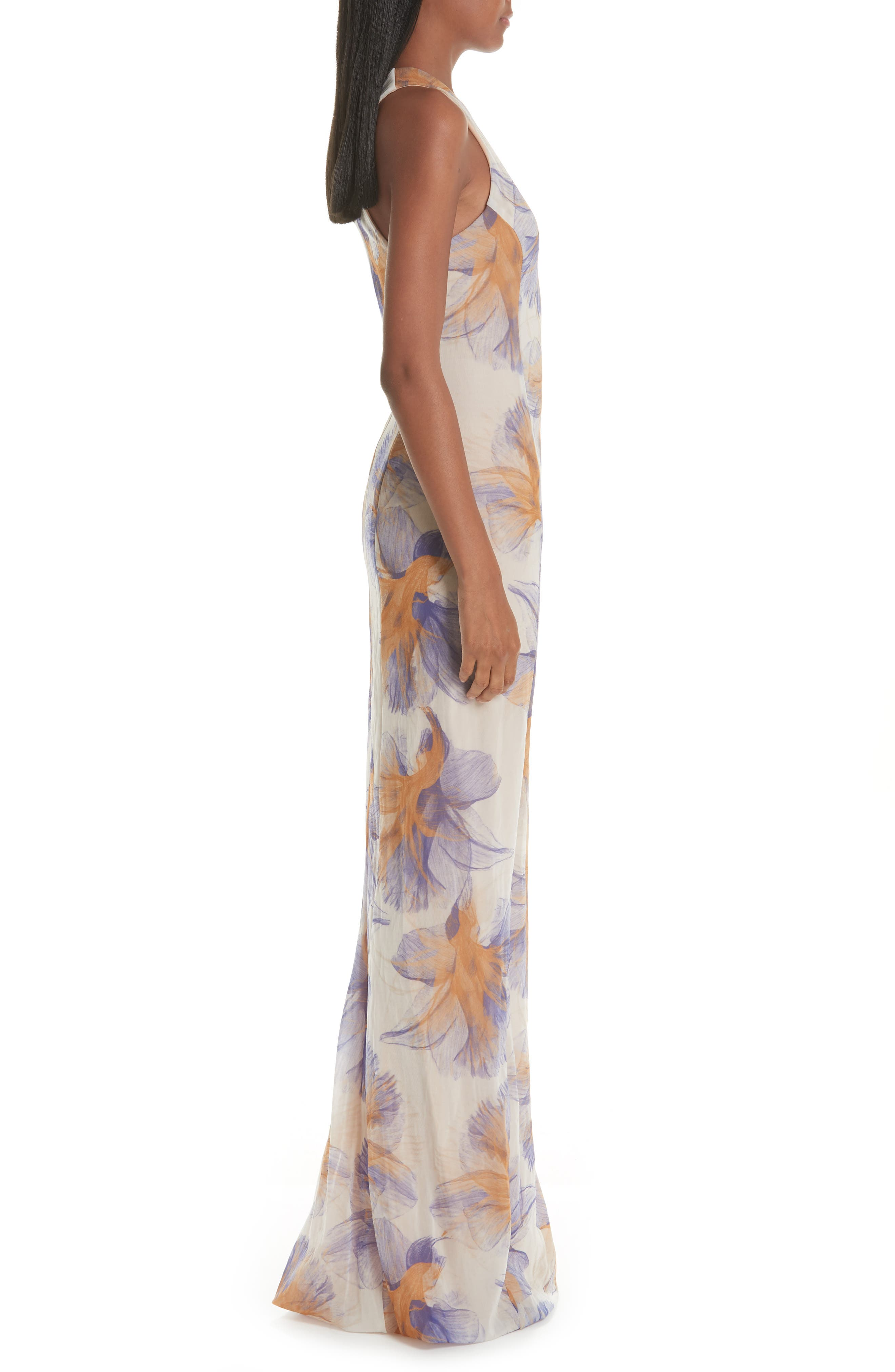 GALVAN,                             Abstract Floral Print Gown,                             Alternate thumbnail 3, color,                             ABSTRACT FLORAL