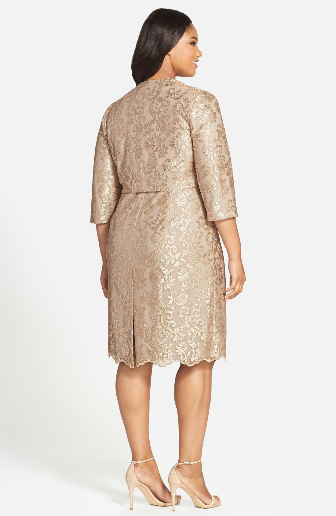 Embroidered Cocktail Dress with Embellished Bolero Jacket,                             Alternate thumbnail 2, color,                             250