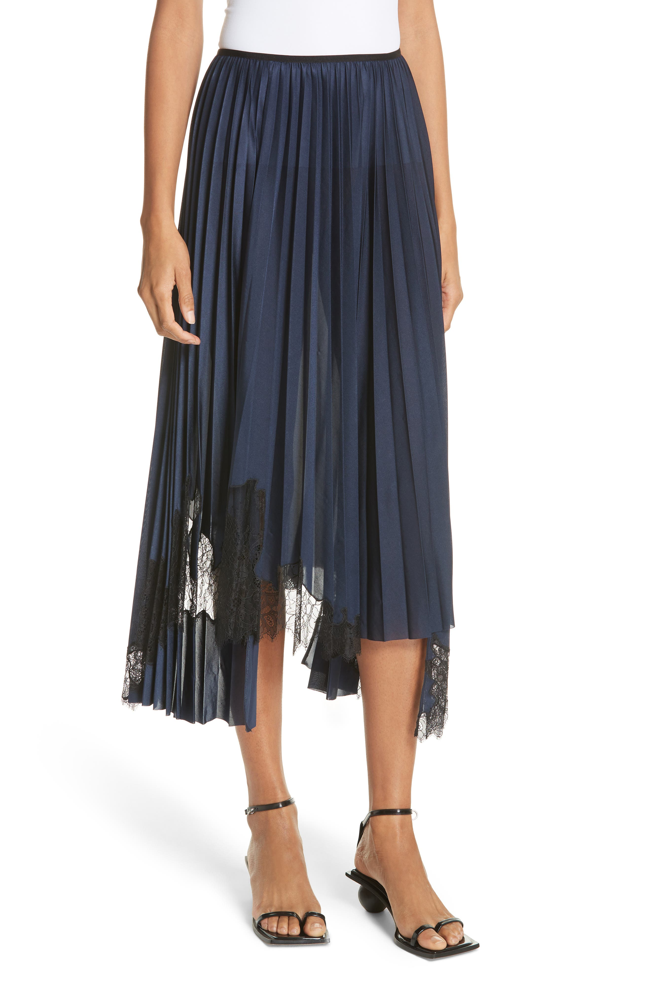 Pleated Lace Inset Skirt,                         Main,                         color, BLUE