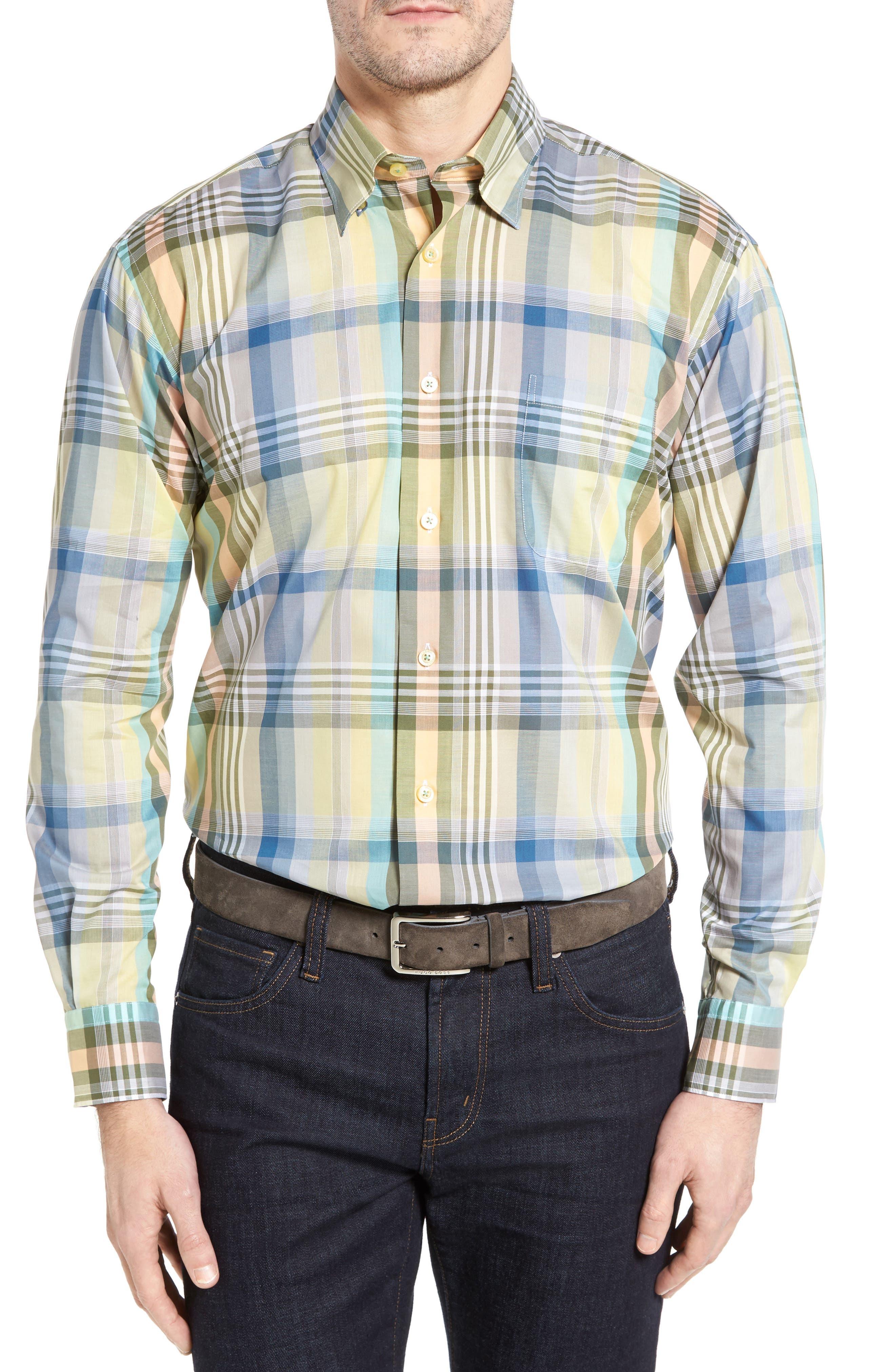 Anderson Classic Fit Plaid Sport Shirt,                             Main thumbnail 1, color,                             960