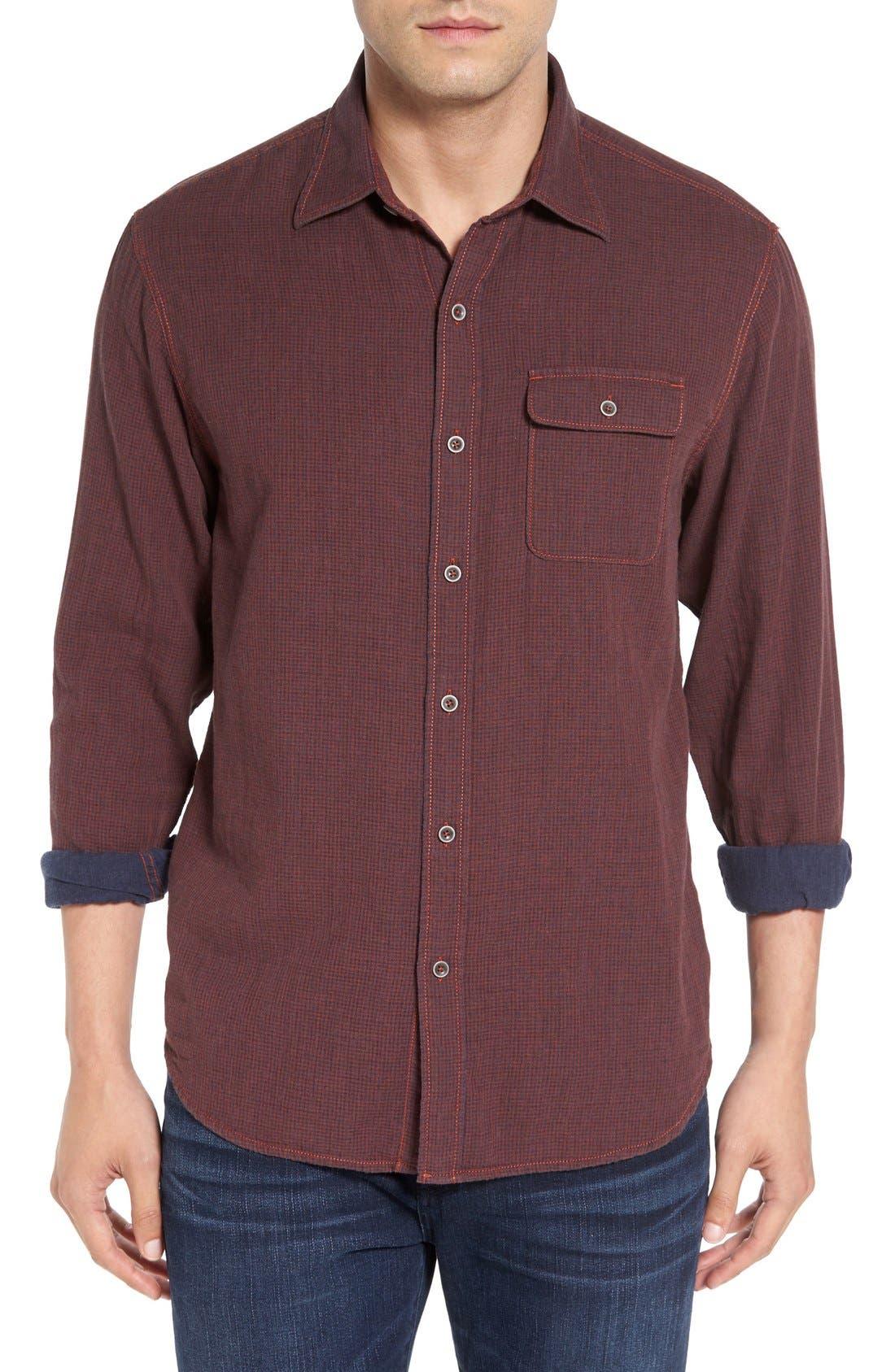 'Havana Squared' Regular Fit Microcheck Sport Shirt,                             Main thumbnail 1, color,                             200