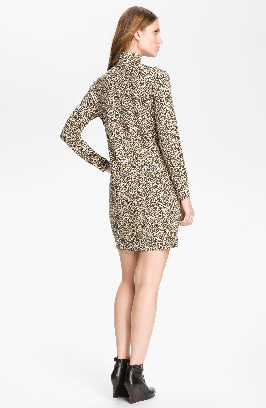 Leopard Print Turtleneck Dress,                             Alternate thumbnail 3, color,                             020