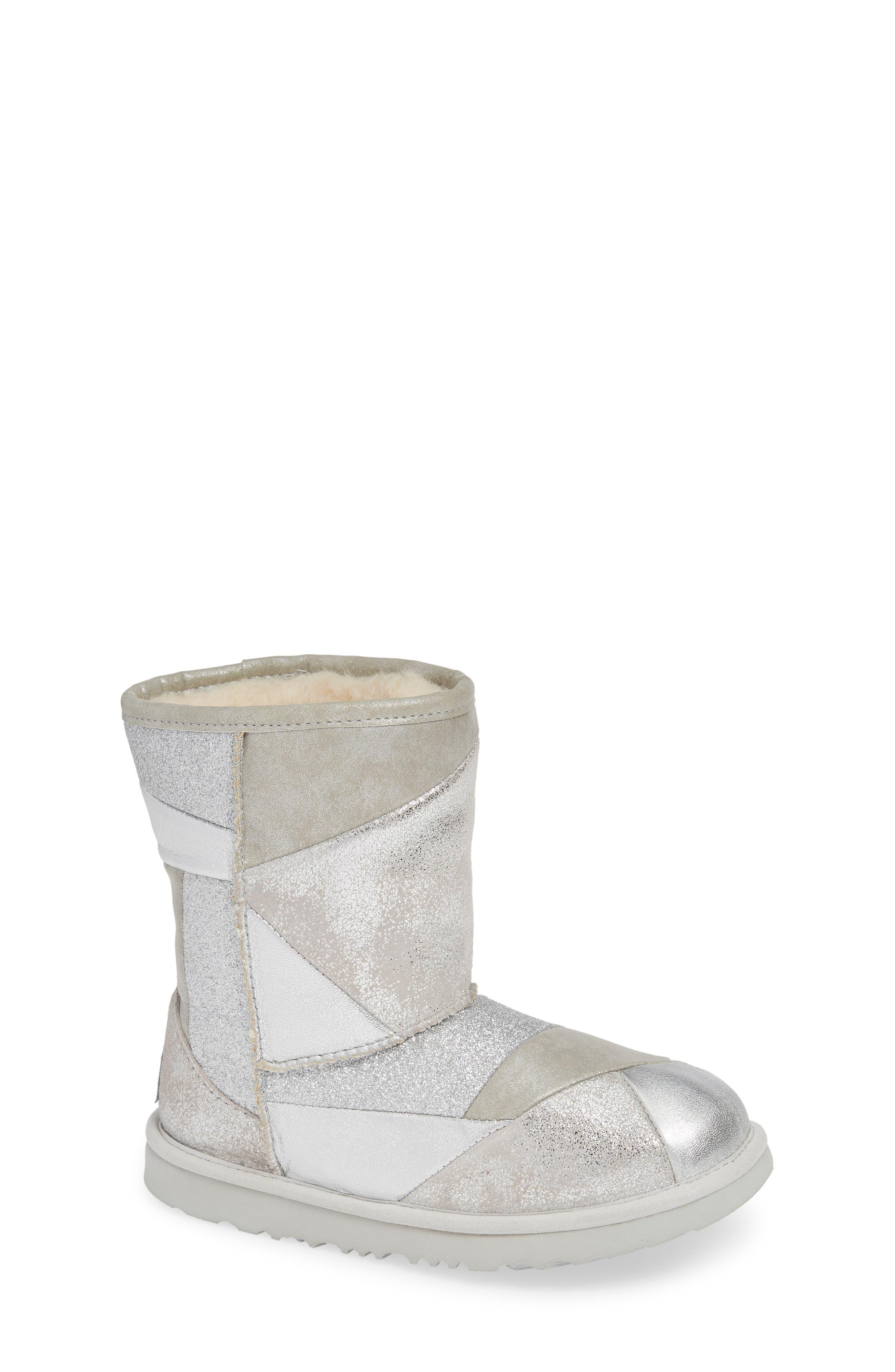 Classic Short II Metallic Patchwork Boot,                         Main,                         color, SILVER