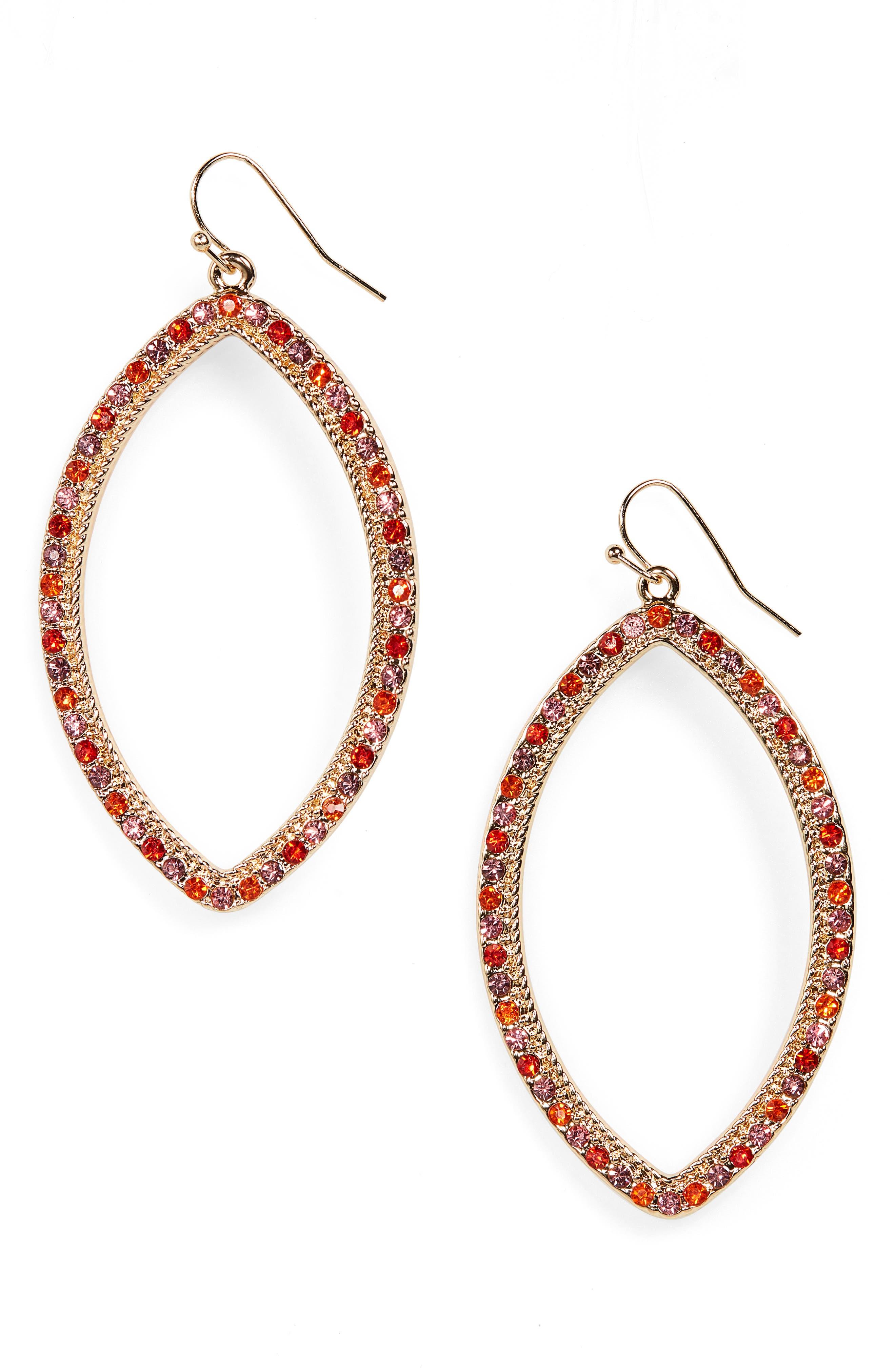 STELLA + RUBY Crystal Marquise Drop Earrings in Gold/ Fuschia