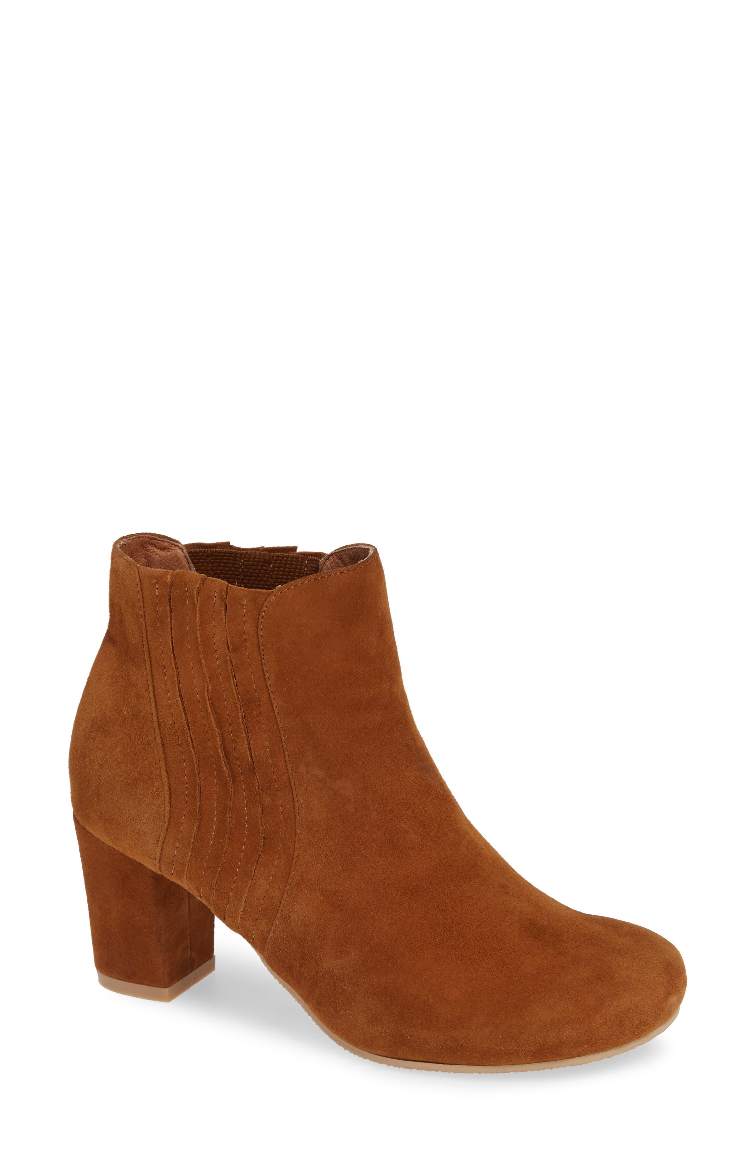 Camila Block Heel Bootie,                         Main,                         color, CARMEL SUEDE