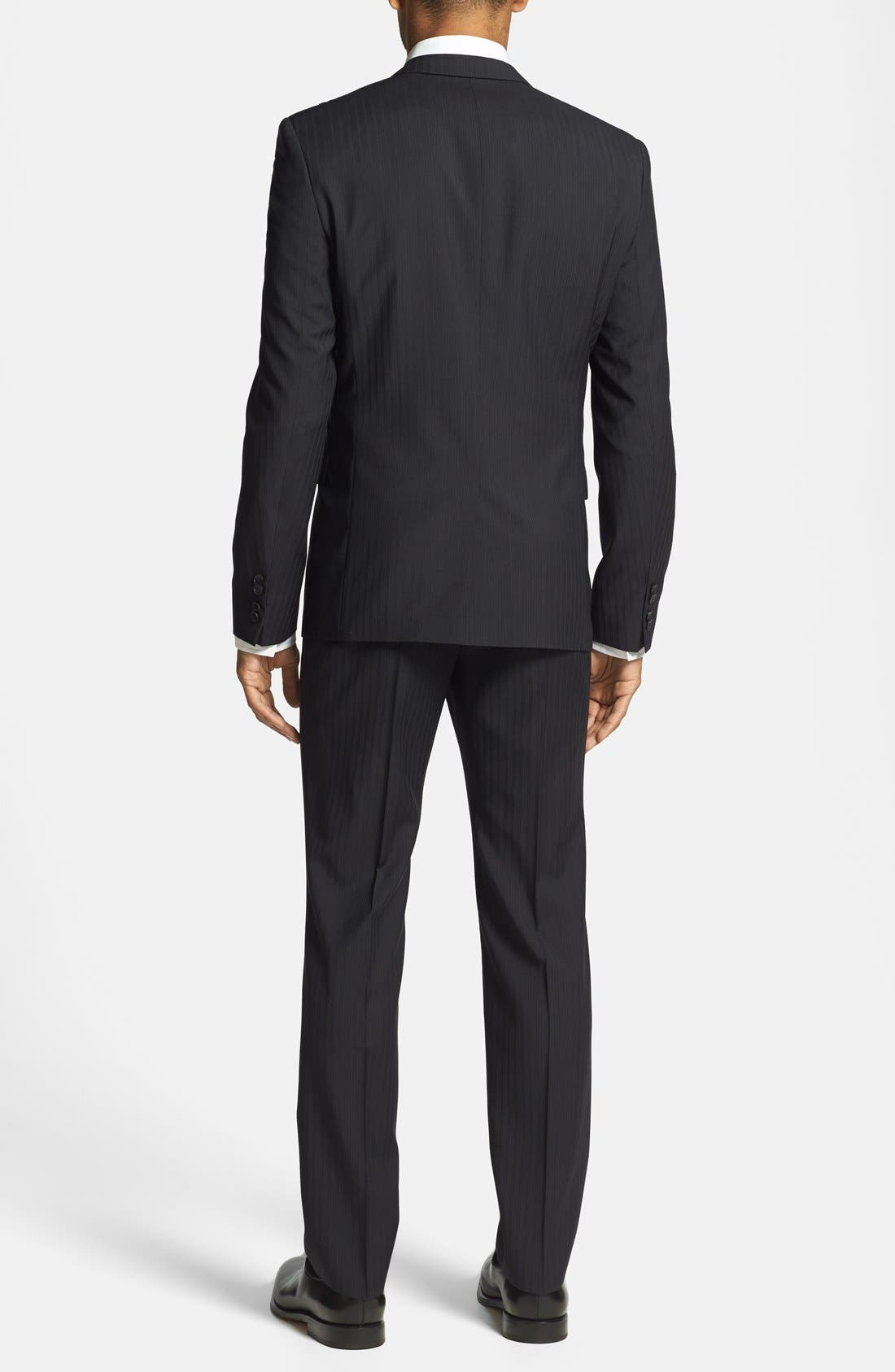 BOSS HUGO BOSS 'Adris/Heibo' Extra Trim Fit Stripe Suit,                             Alternate thumbnail 5, color,                             001