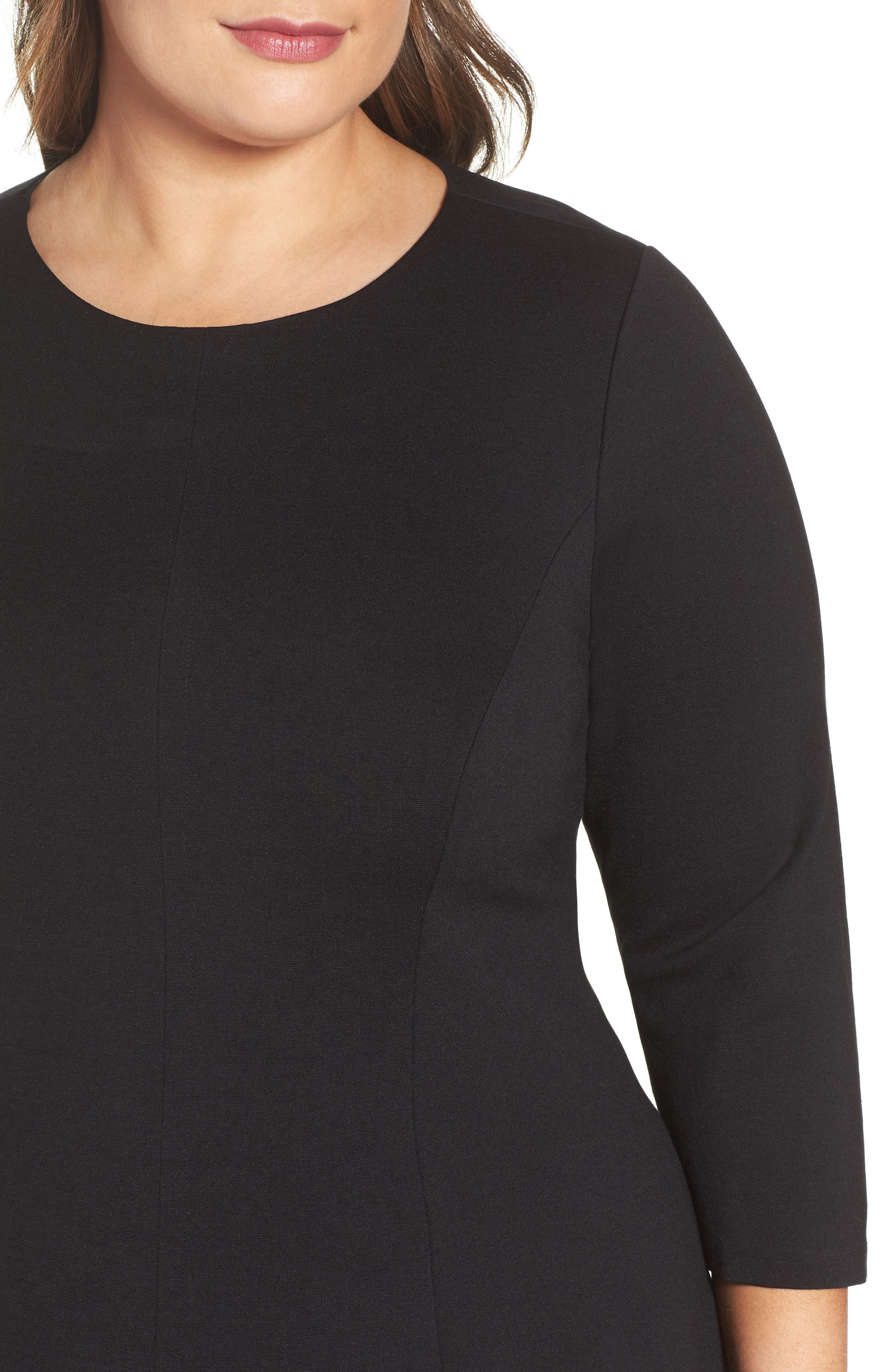 Ponte Fit & Flare Dress,                             Alternate thumbnail 4, color,                             BLACK/ IVORY