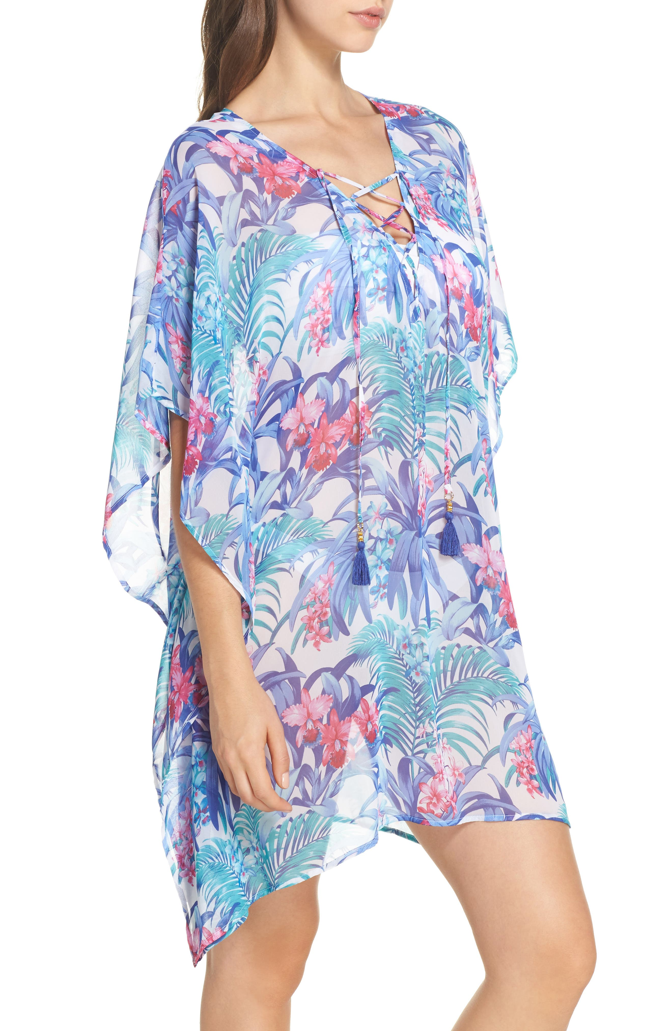 Majorelle Cover-Up Tunic,                             Alternate thumbnail 3, color,                             100