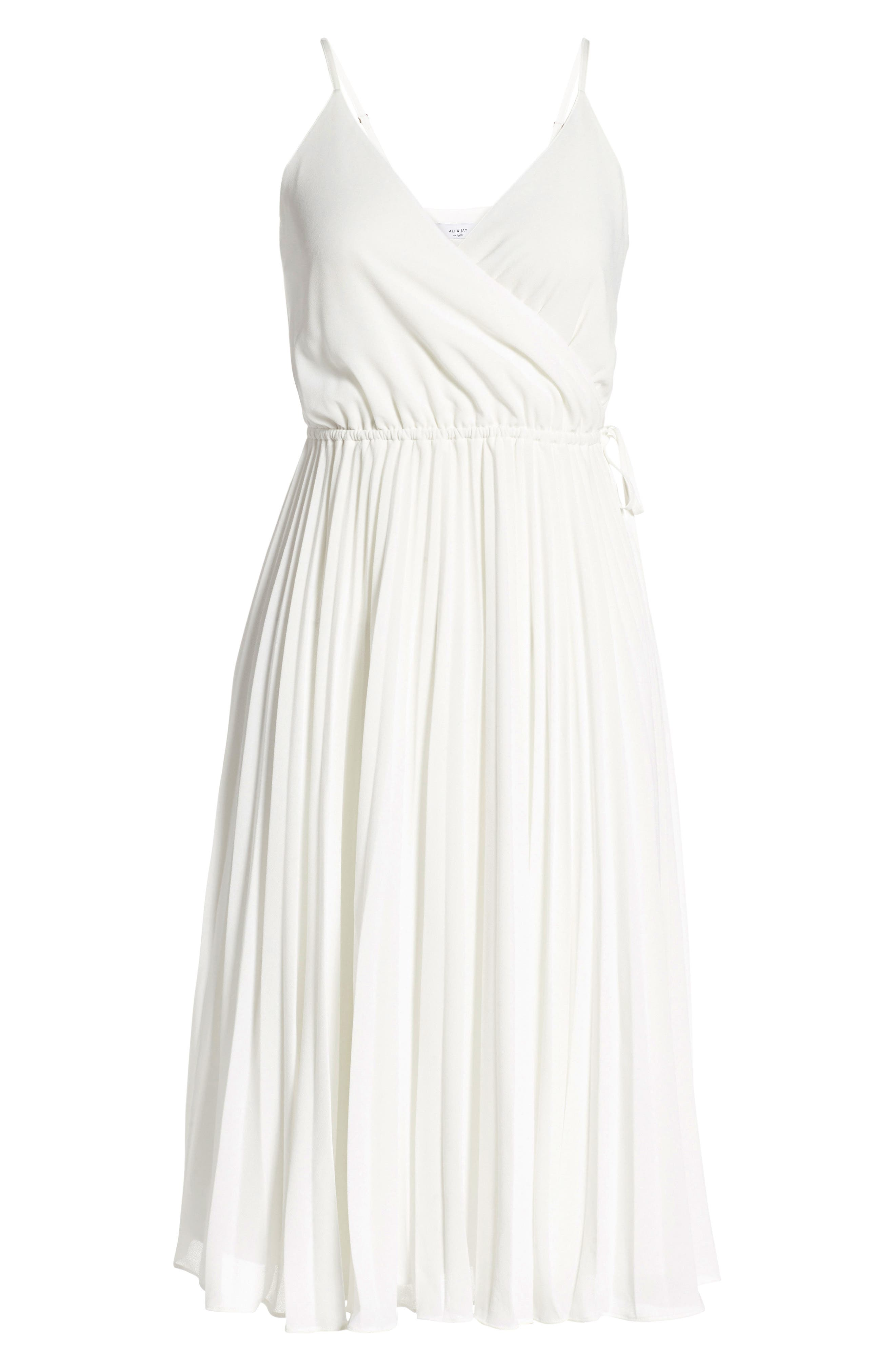 Lily Pond Fit & Flare Dress,                             Alternate thumbnail 7, color,                             WHITE