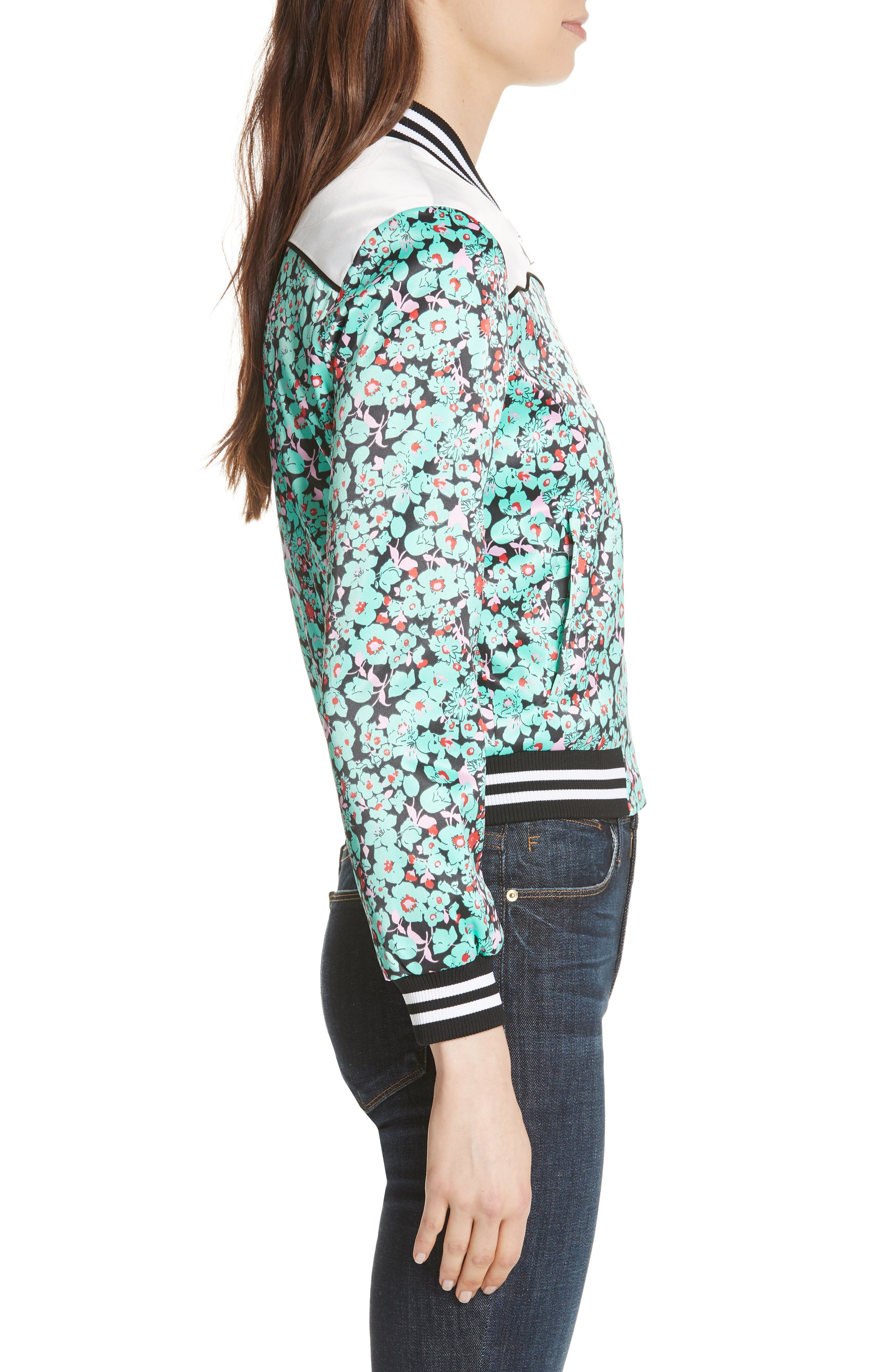 Bert Floral Bomber Jacket,                             Alternate thumbnail 3, color,