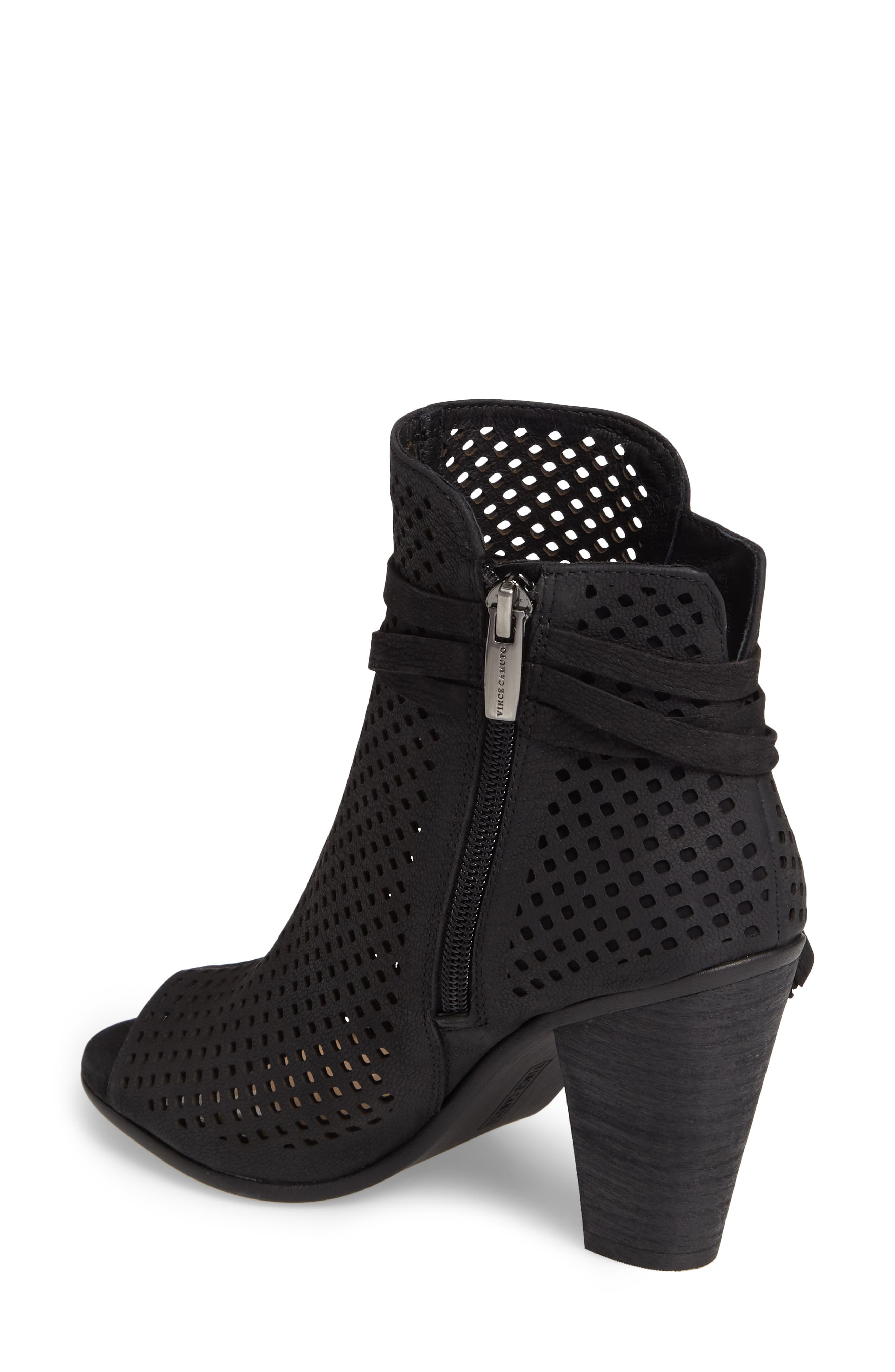 Kamey Perforated Open Toe Bootie,                             Alternate thumbnail 2, color,                             001
