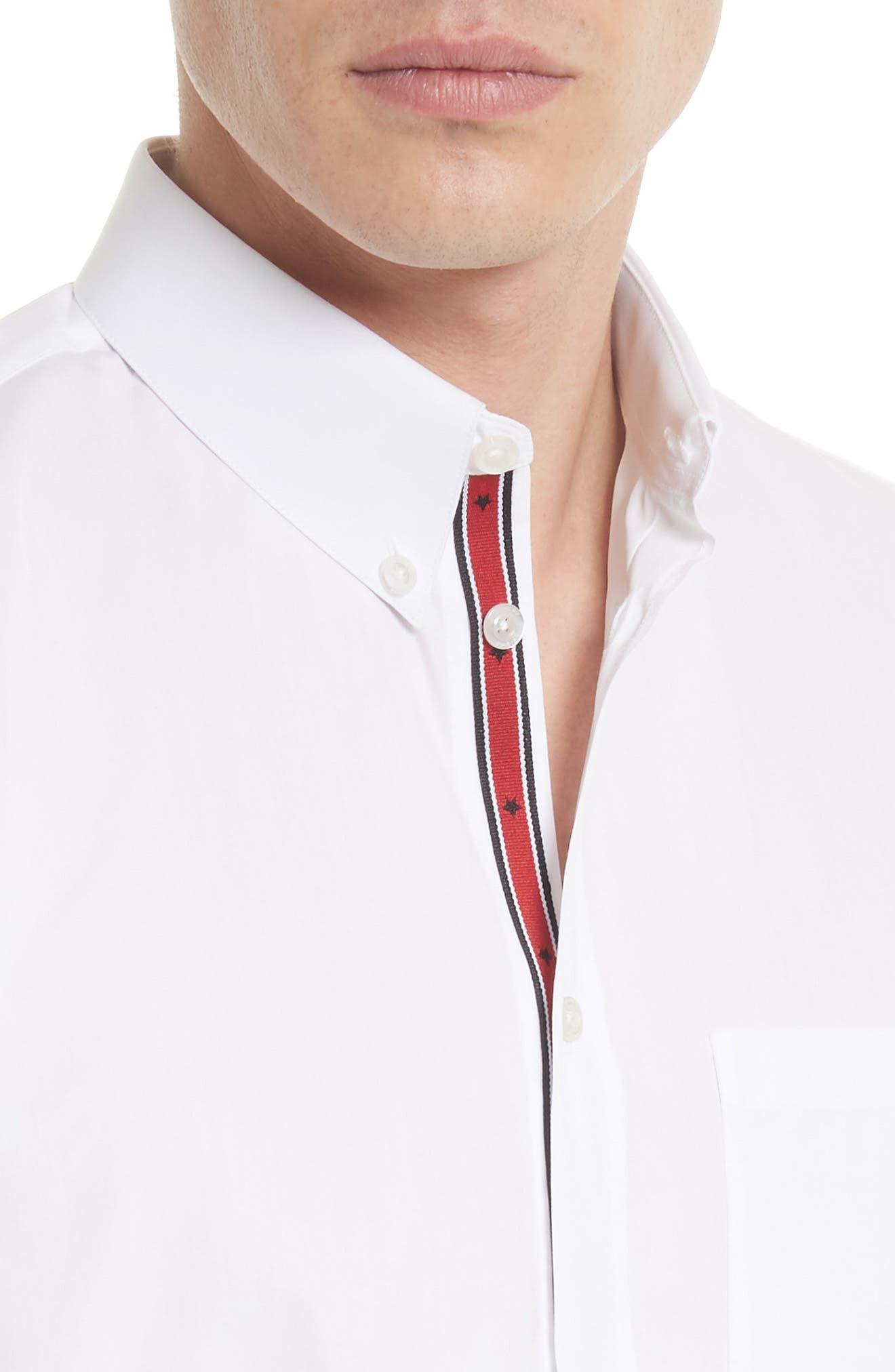 Slim Fit Band Placket Sport Shirt,                             Alternate thumbnail 5, color,                             100