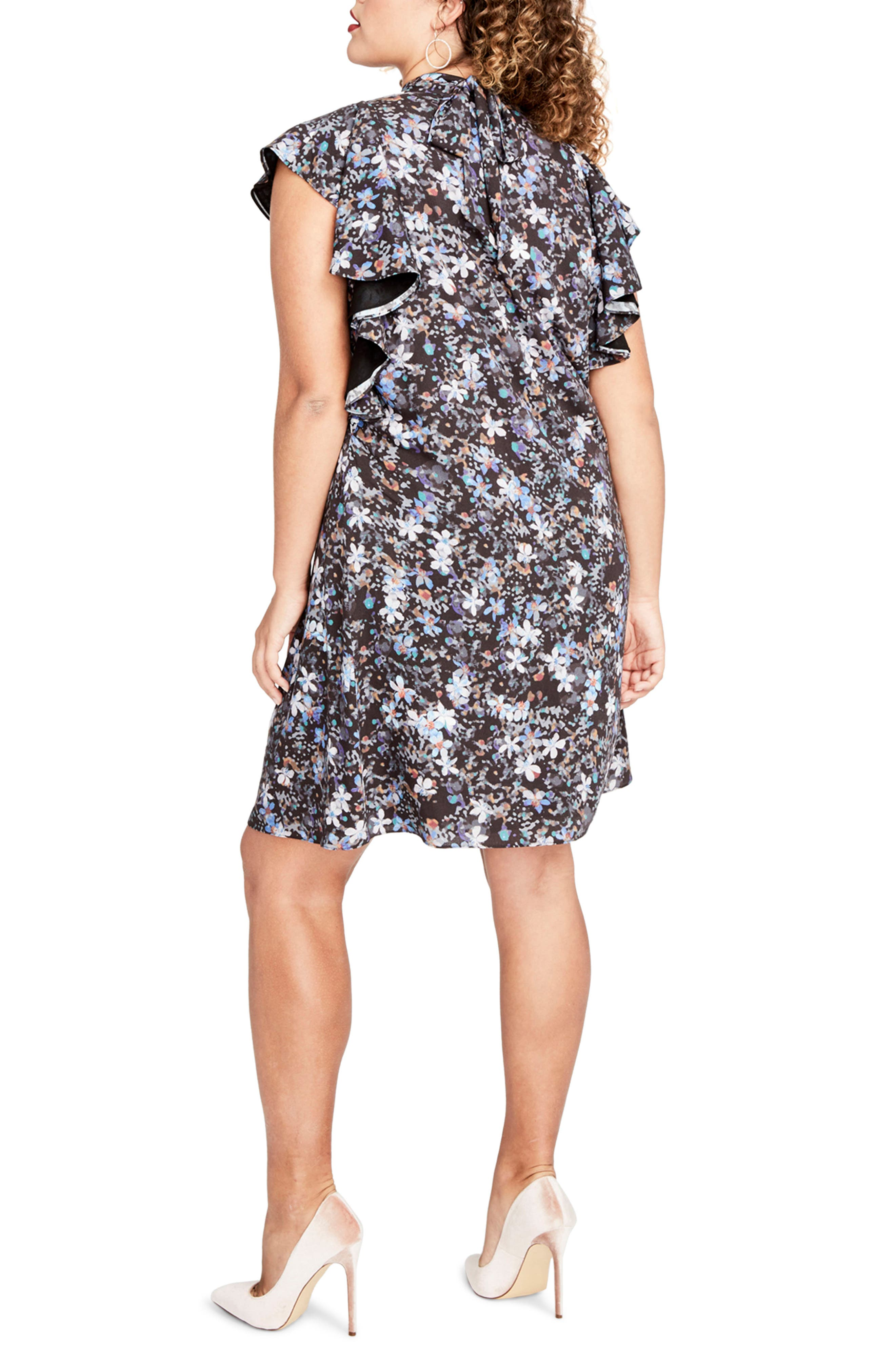 Ruffle Sleeve Floral Shift Dress,                             Alternate thumbnail 2, color,