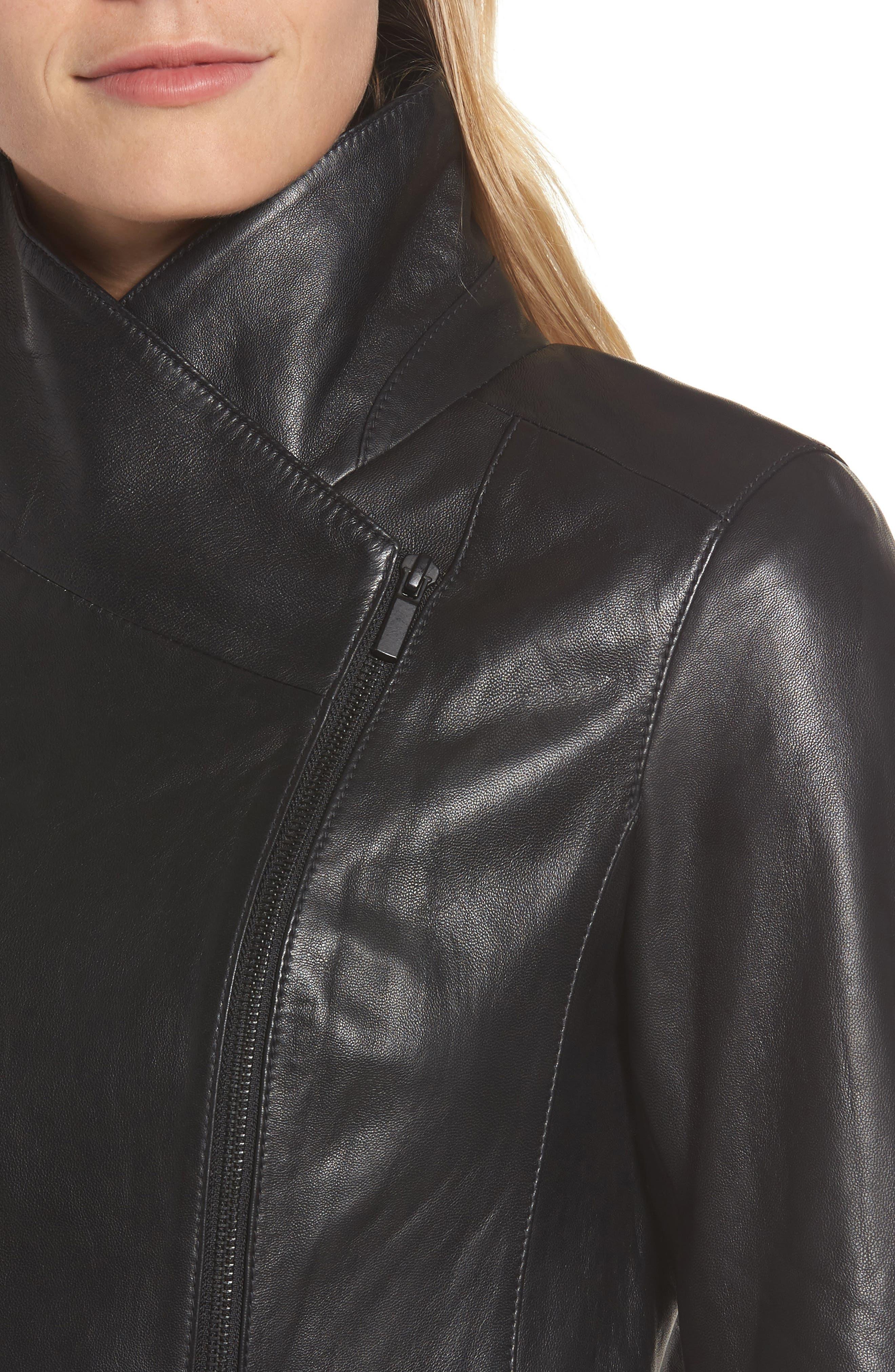 Front Zip Leather Jacket,                             Alternate thumbnail 4, color,                             001