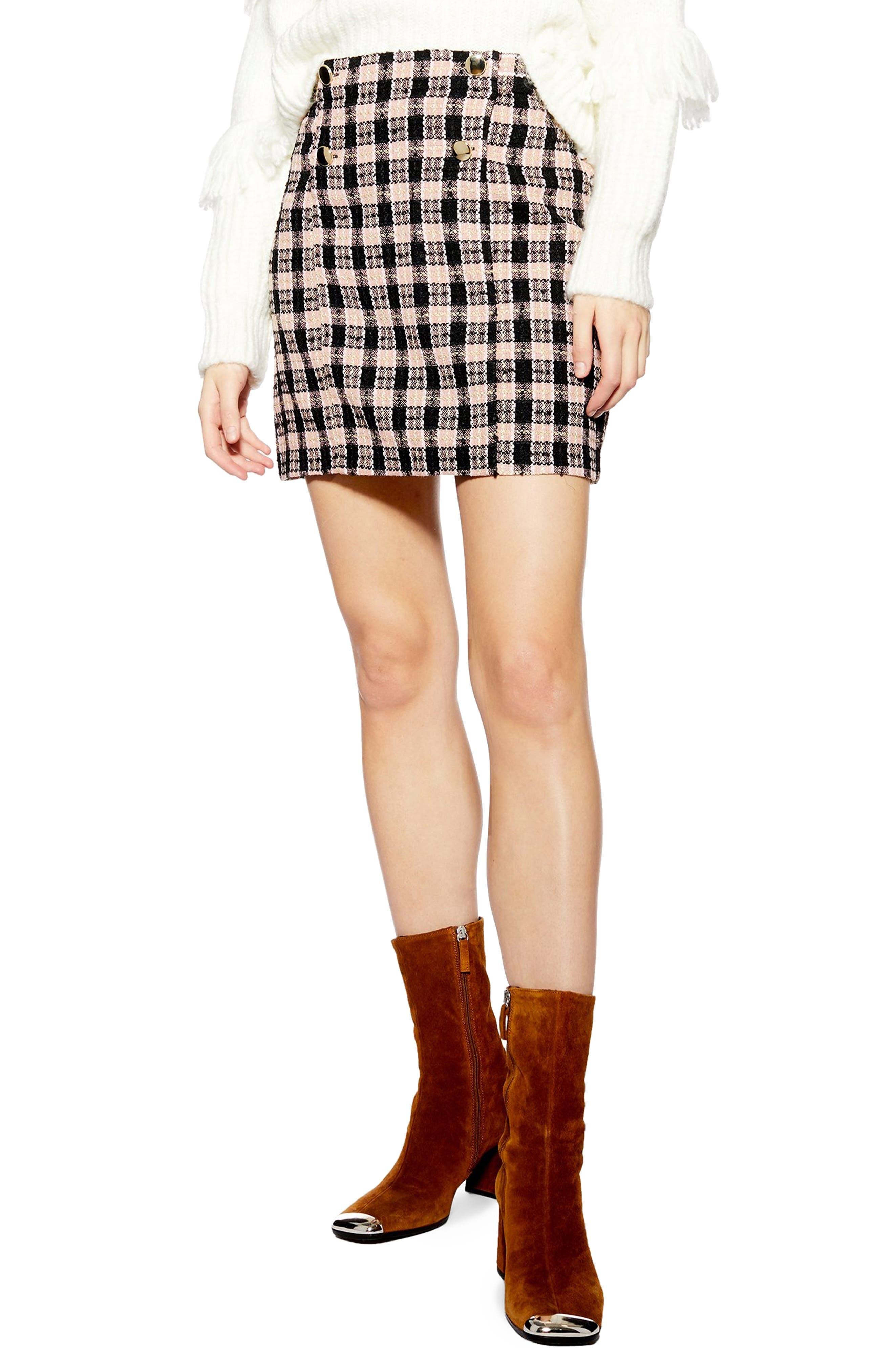 Topshop Check Boucle Metallic Wrap Skirt, US (fits like 0) - Pink