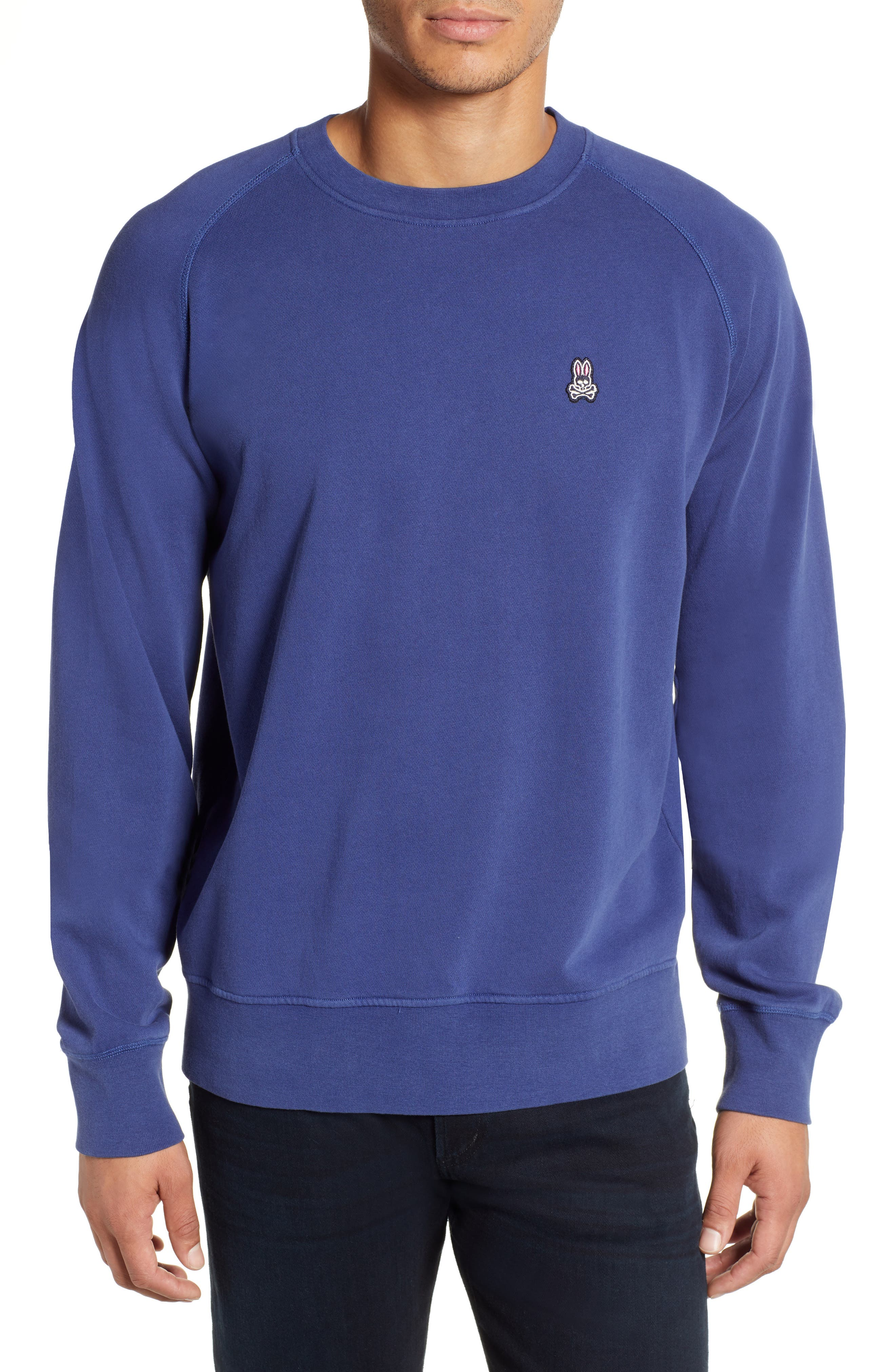 PSYCHO BUNNY Dunham Crewneck Sweatshirt in Blue Print
