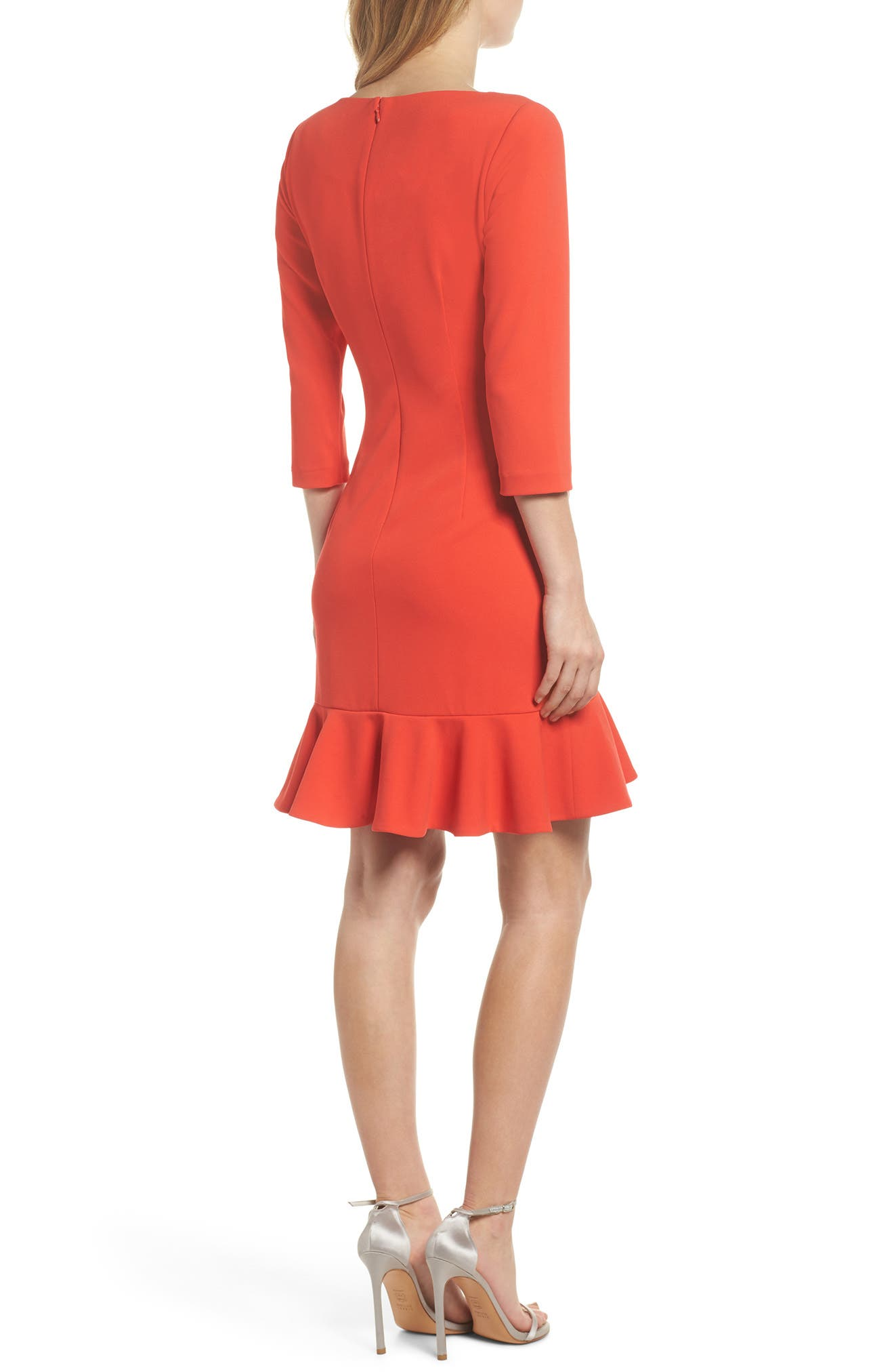 Crepe Ruffle Hem Body-Con Dress,                             Alternate thumbnail 4, color,