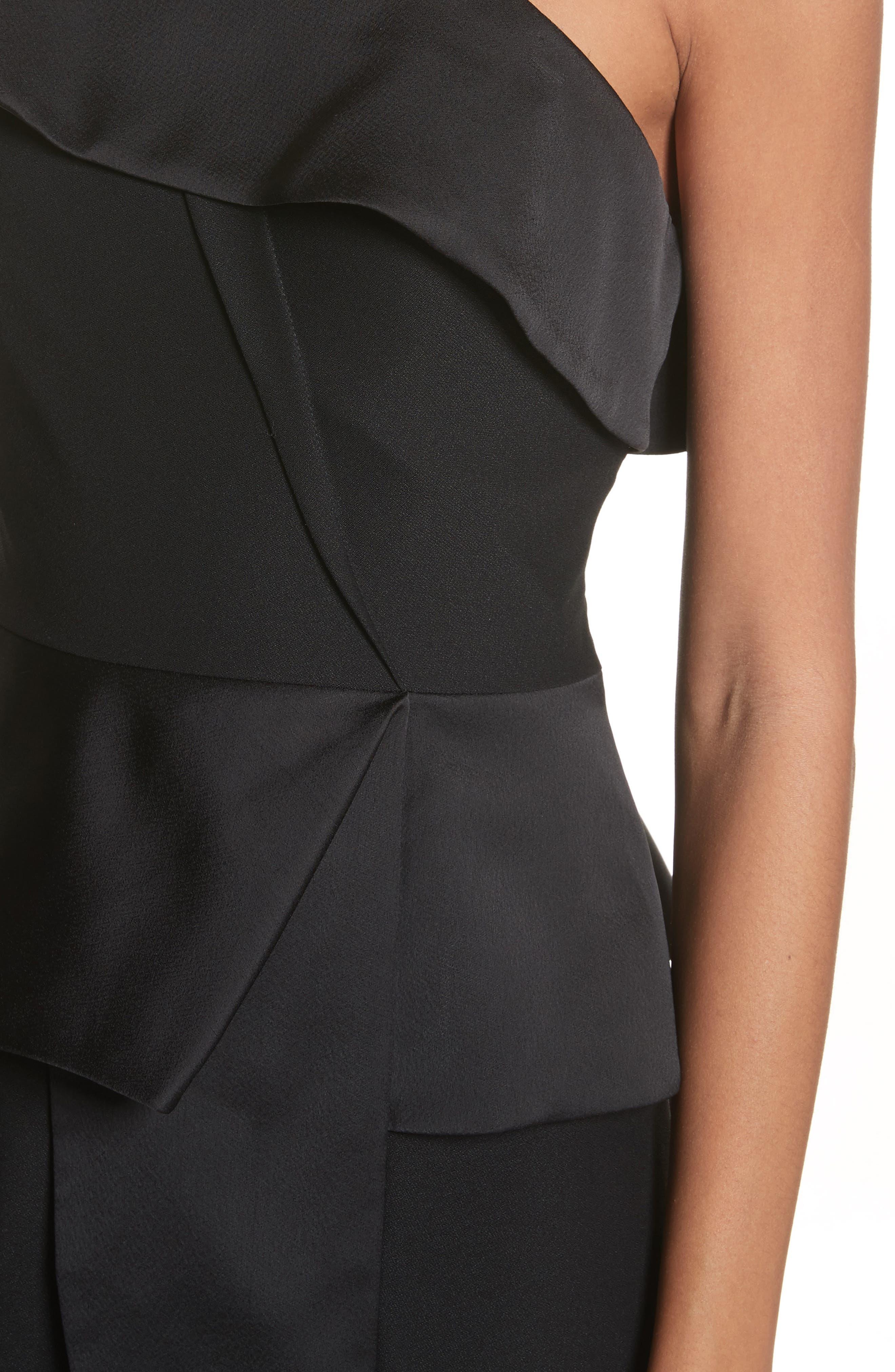 Pana One-Shoulder Peplum Sheath Dress,                             Alternate thumbnail 4, color,                             001
