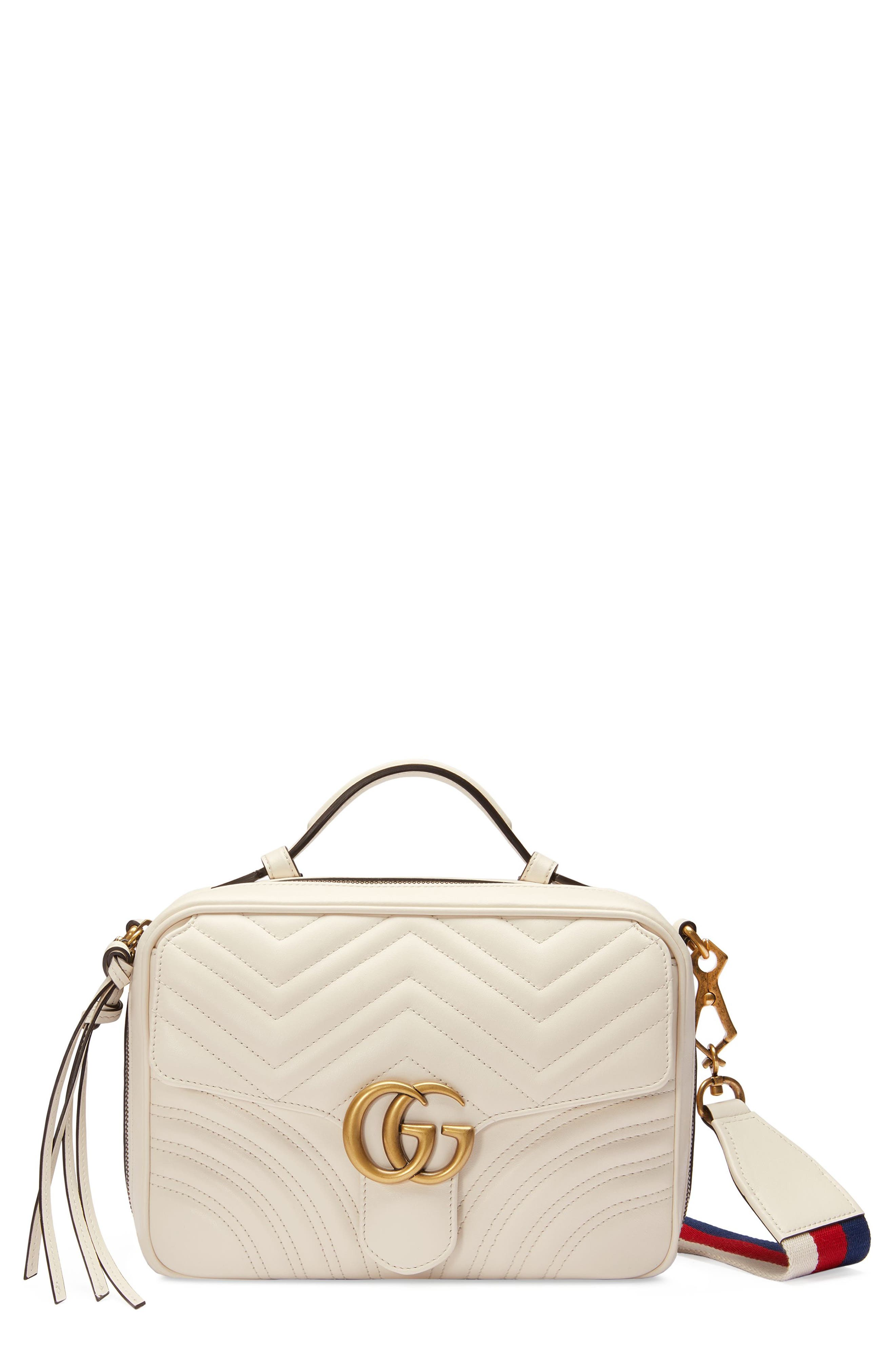Small GG Marmont 2.0 Matelassé Leather Camera Bag with Webbed Strap,                         Main,                         color, MYSTIC WHITE/ HIBISCUS RED