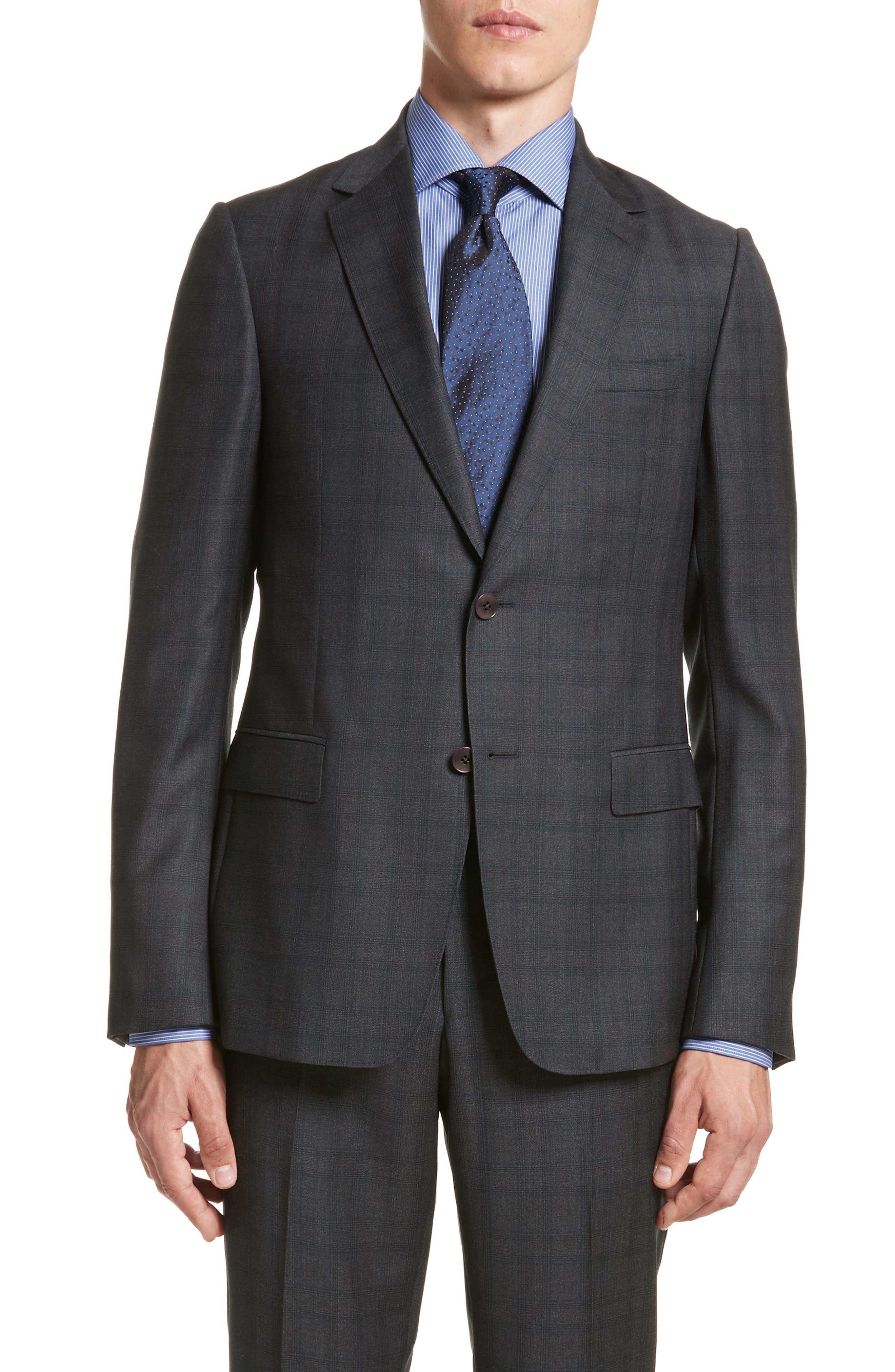 Classic Fit Plaid Wool Suit,                             Alternate thumbnail 5, color,                             026
