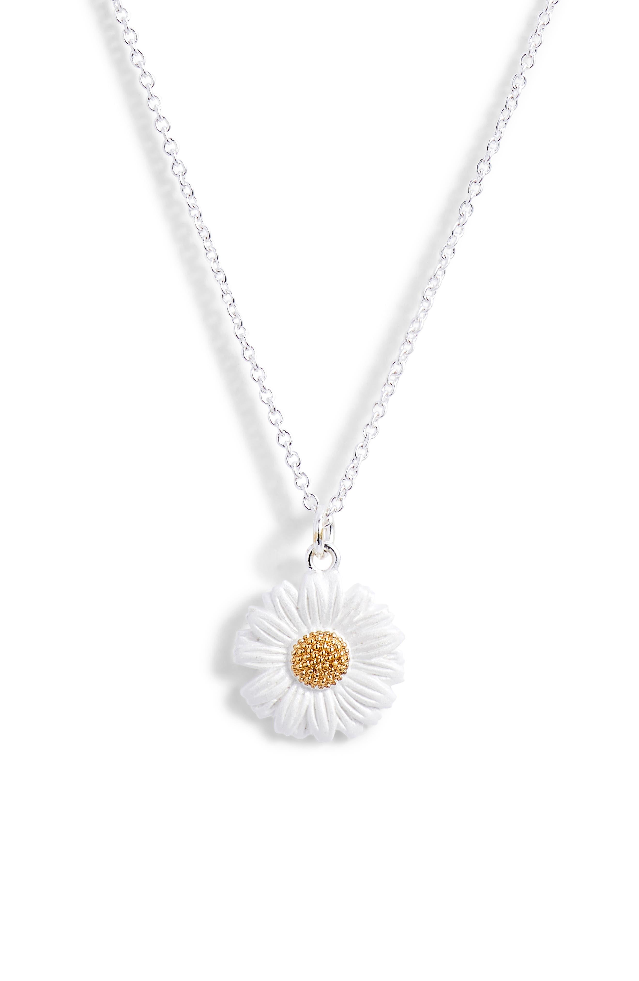 3D Daisy Pendant Necklace,                         Main,                         color, SILVER/ GOLD