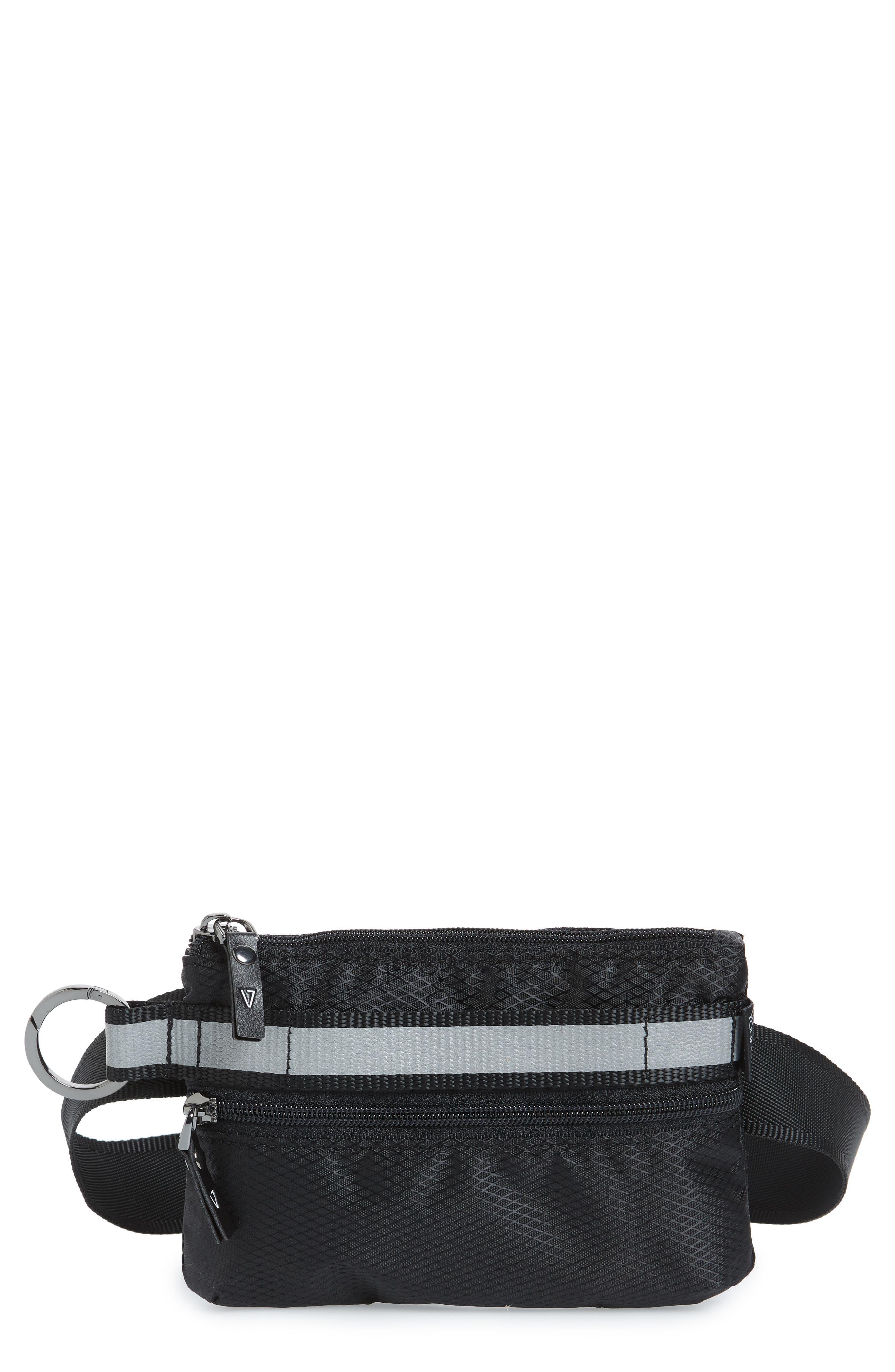 ANDI Urban Clutch Convertible Belt Bag - Black in Black/ Reflective Stripe