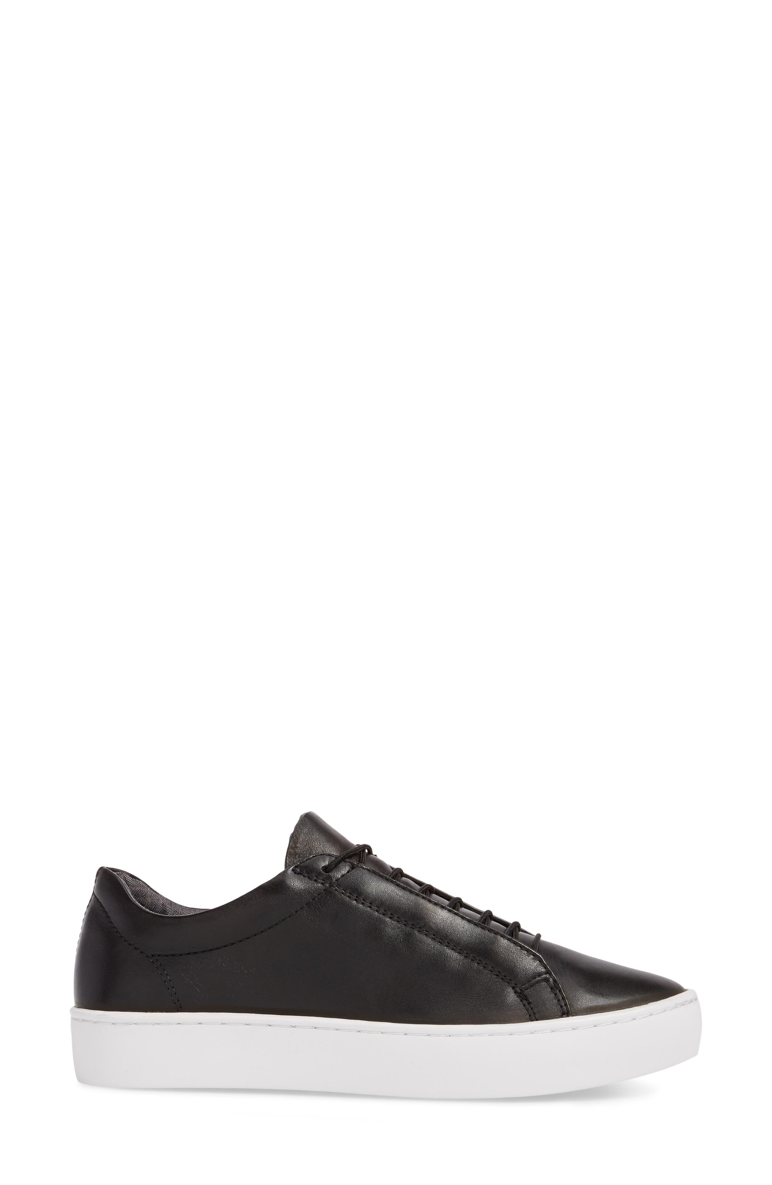 Zoe Sneaker,                             Alternate thumbnail 3, color,                             BLACK LEATHER