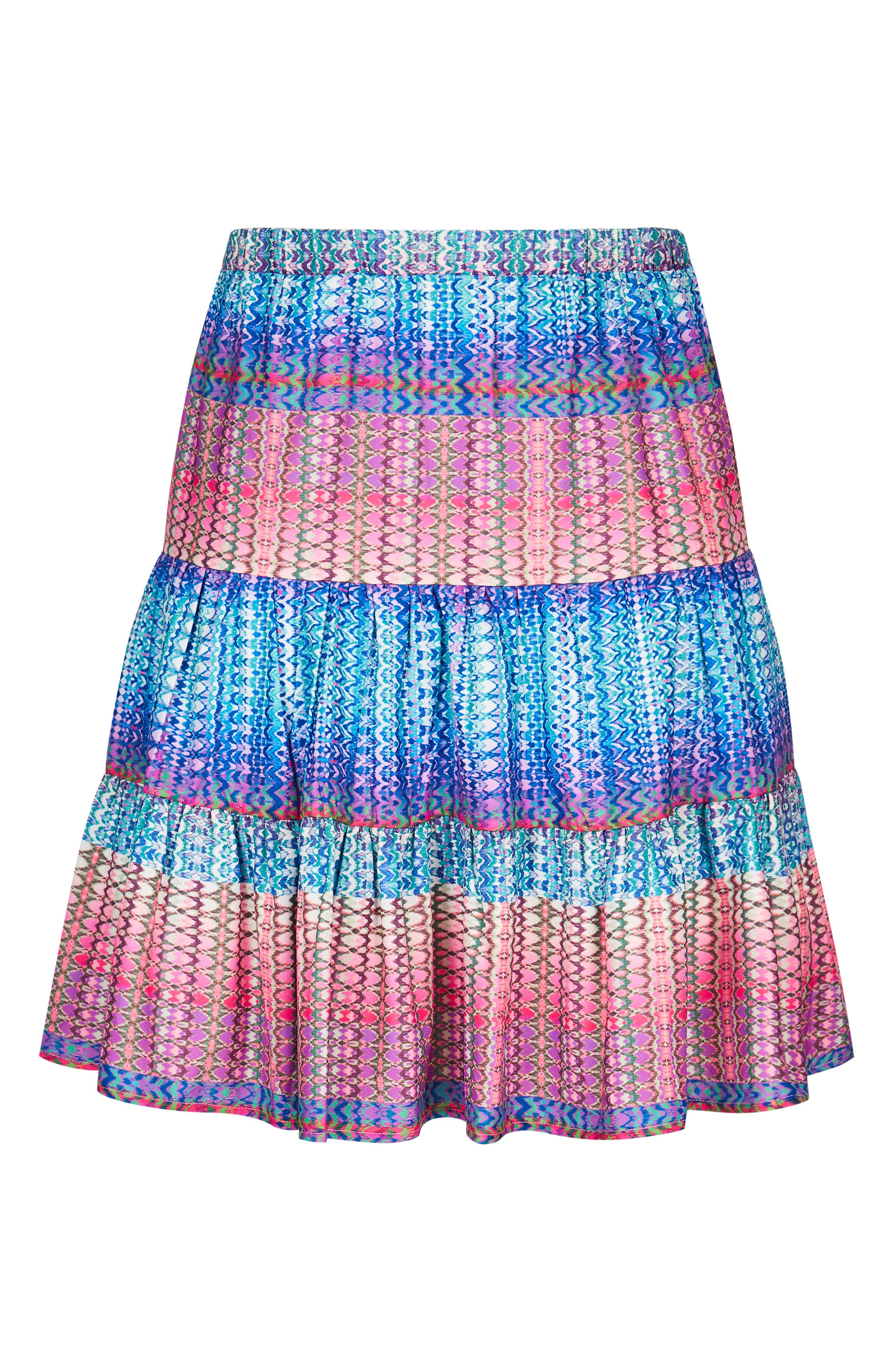 Tiered Up Skirt,                             Alternate thumbnail 3, color,                             KALEIDOSCOPE